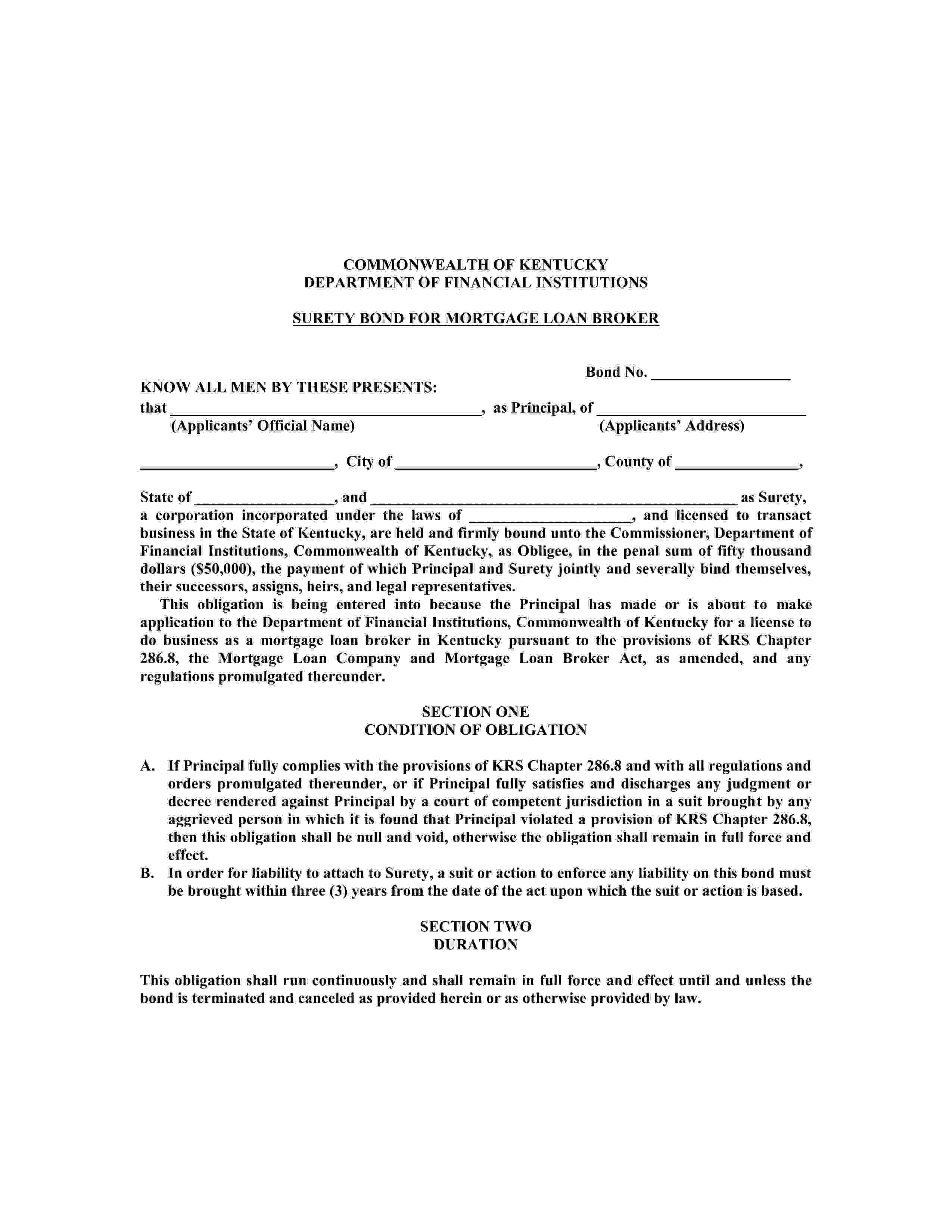 Commonwealth of Kentucky Mortgage Loan Broker sample image