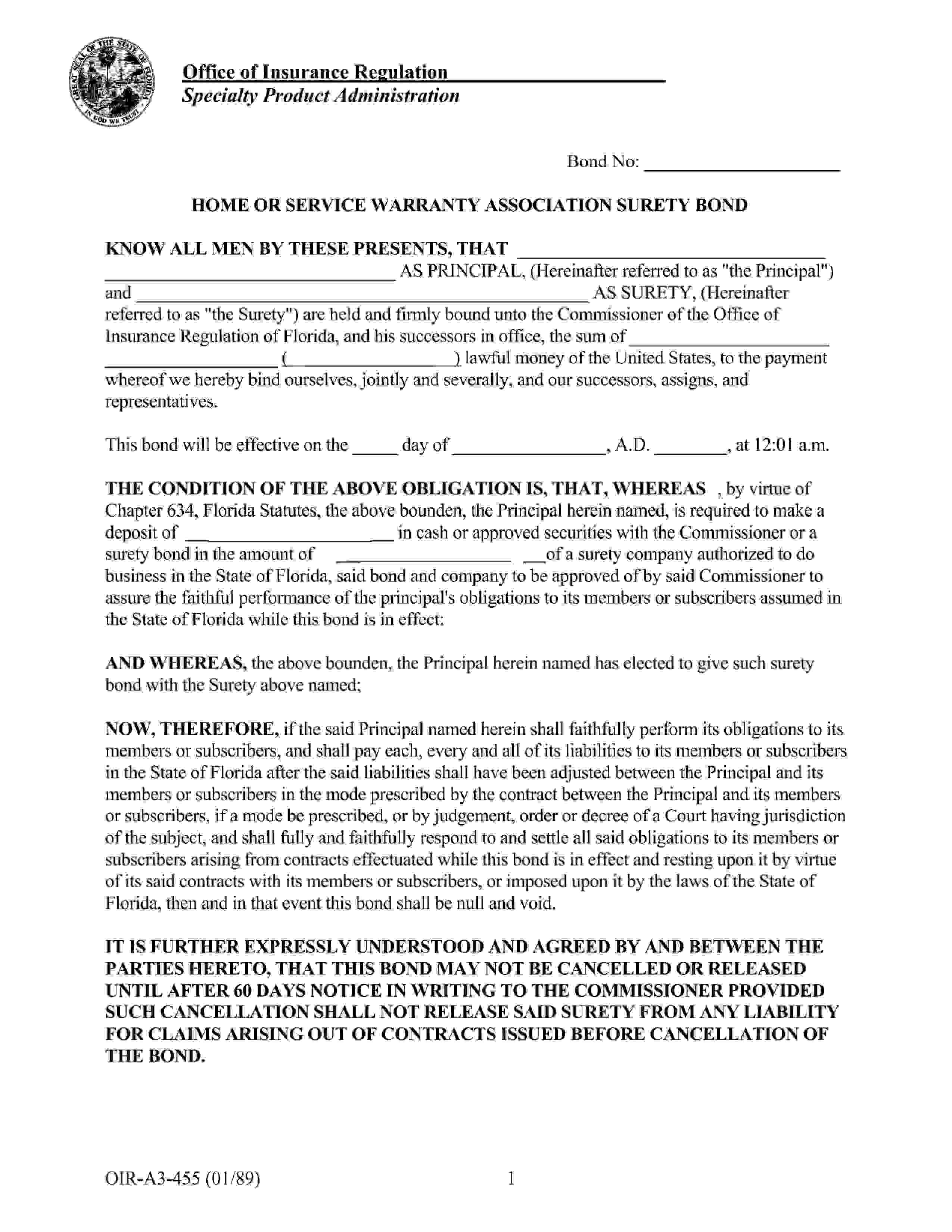 Commissioner of the Office of Insurance Regulation of Florida Home or Service Warranty Association Bond sample image