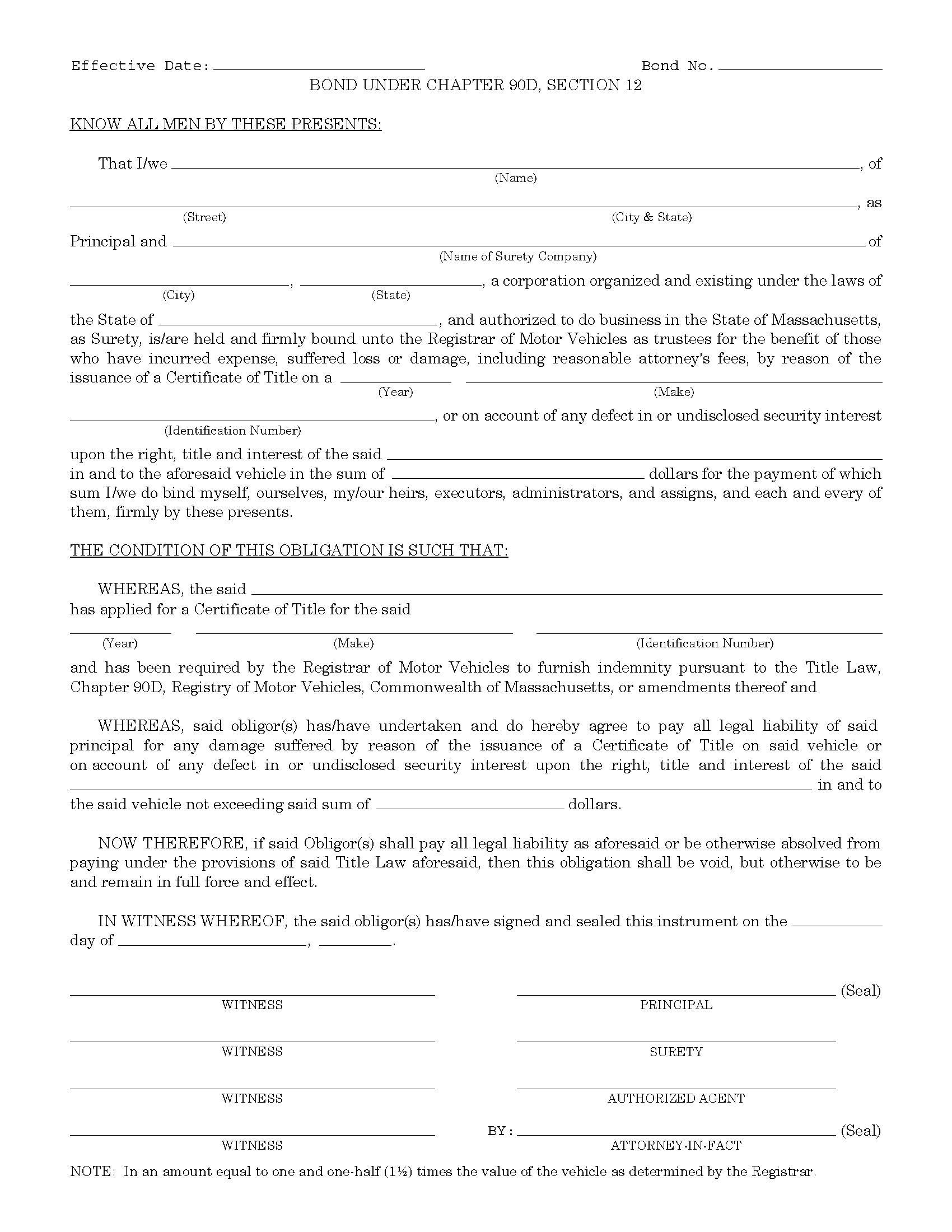 Commonwealth of Massachusetts Motor Vehicle Certificate of Title sample image