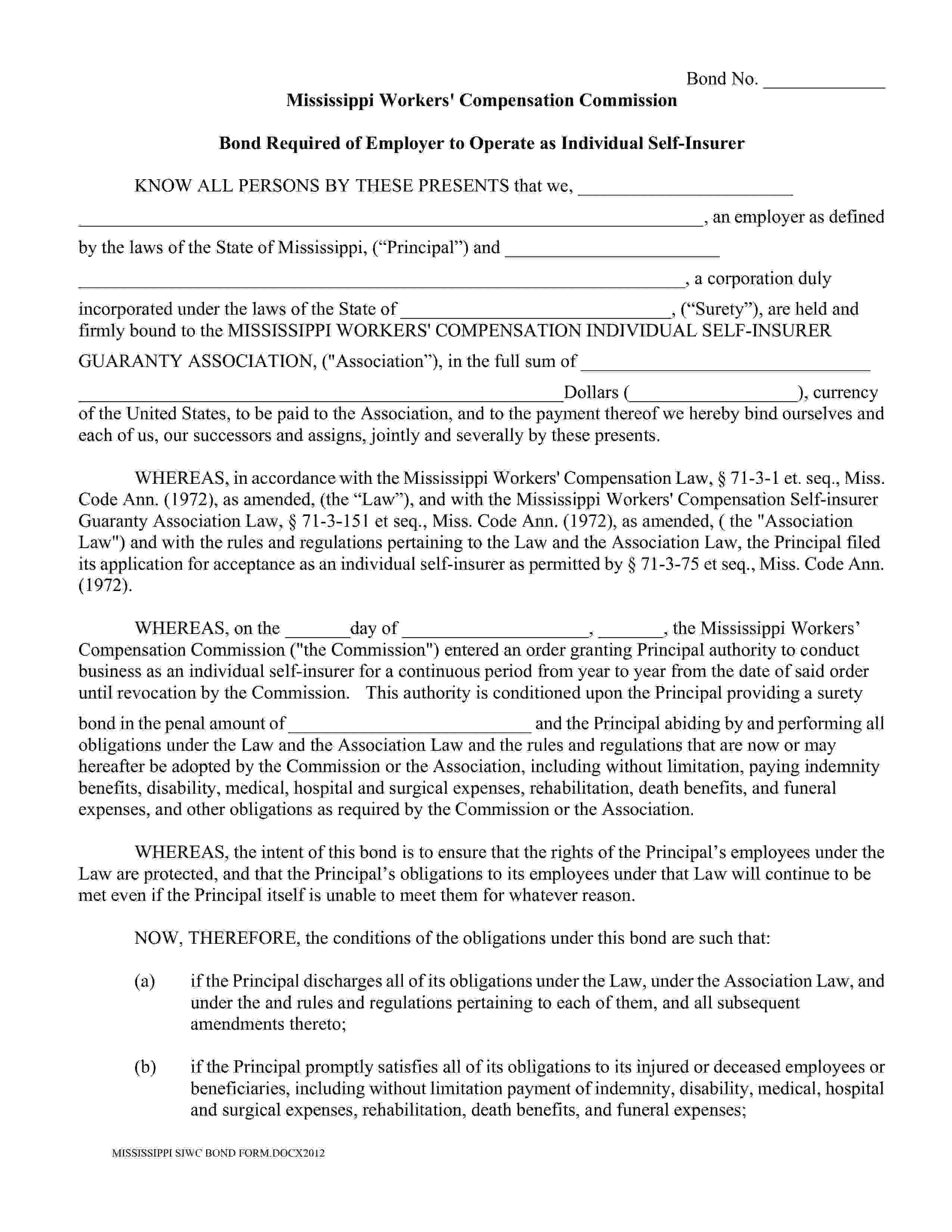 Mississippi Workers' Compensation Commission Self-Insurer of Workers Compensation Bond sample image