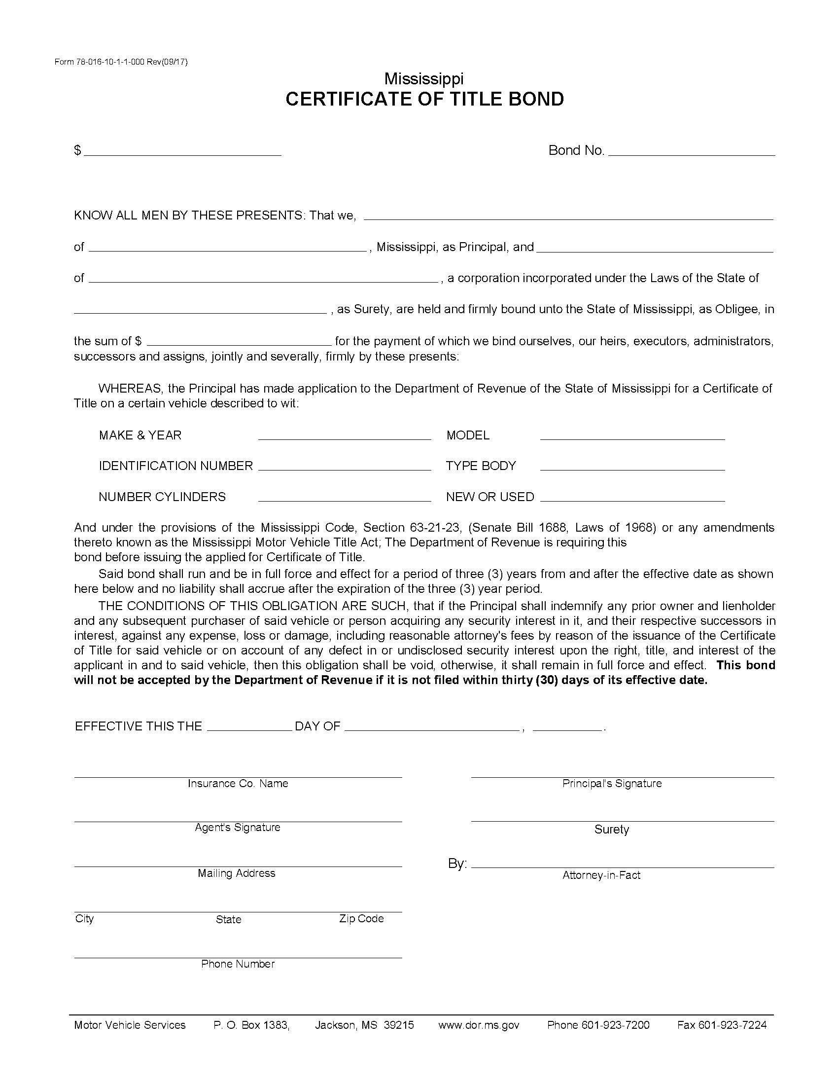 State of Mississippi Motor Vehicle Certificate of Title Bond sample image