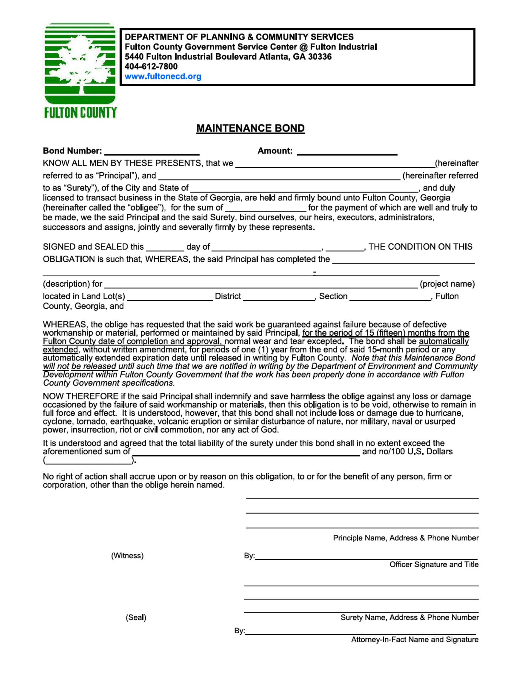 Fulton County Maintenance Bond sample image