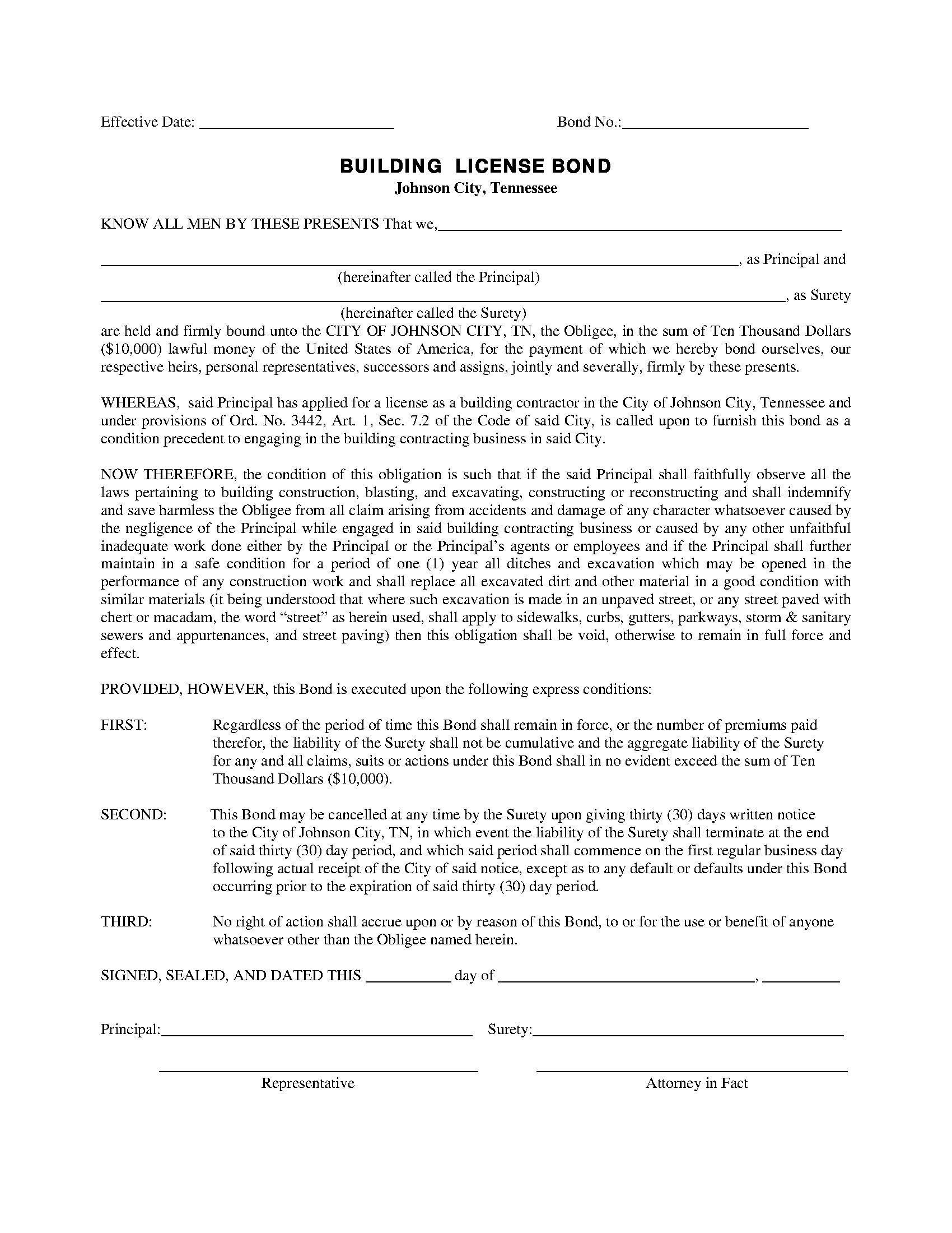 City of Johnson City Building License sample image