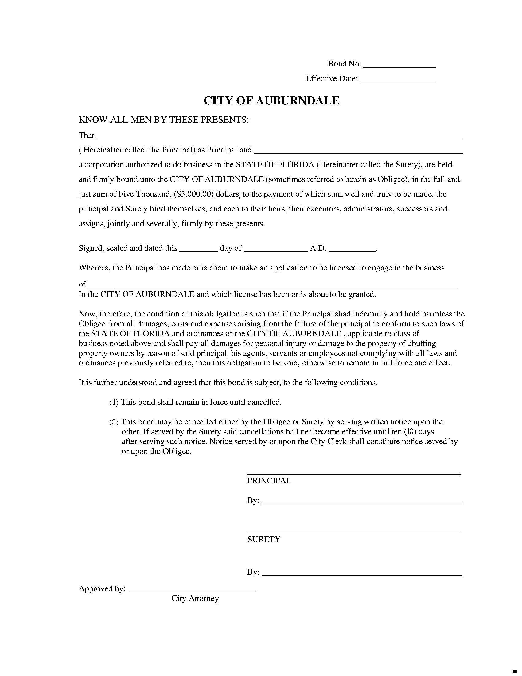 City of Auburndale Auburndale - City License/Permit sample image