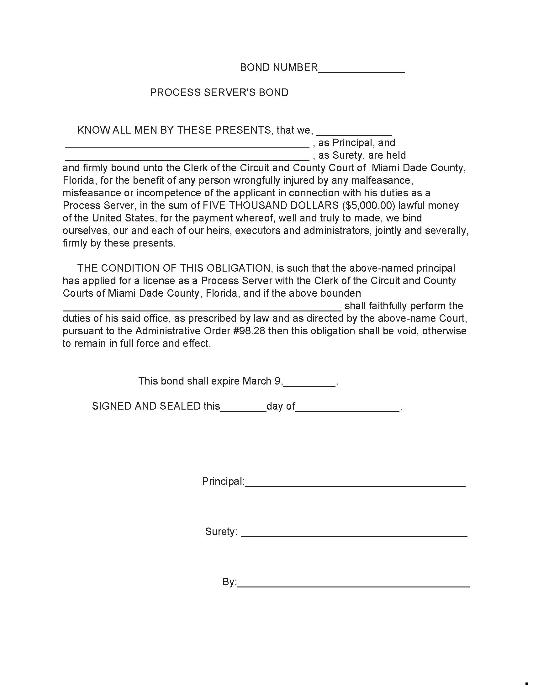 11th Judicial Circuit Court 11th Judicial Circuit Court Process Server Bond sample image