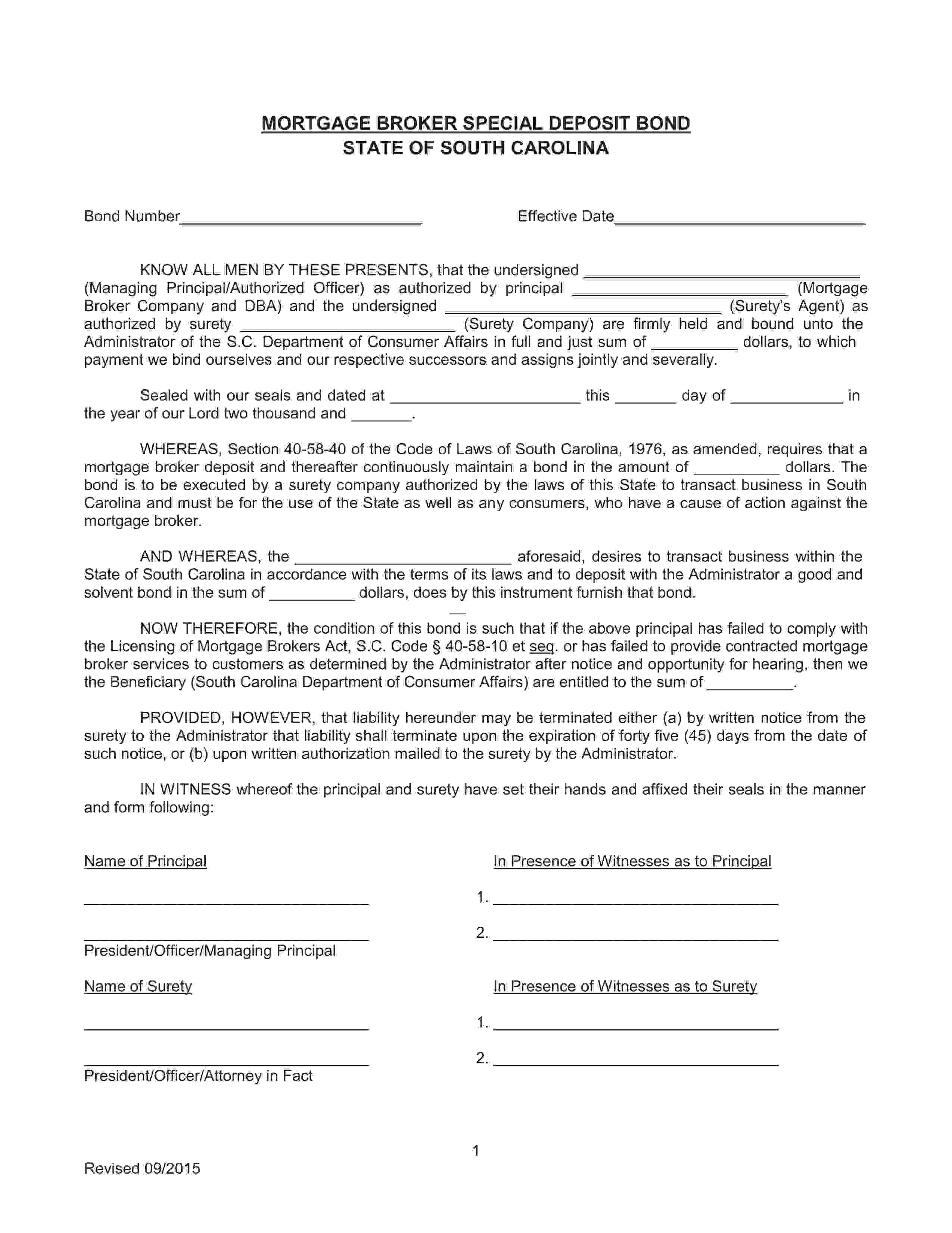 Administrator of the S.C. Department of Consumer Affairs Mortgage Broker Qualified Loan Originator sample image