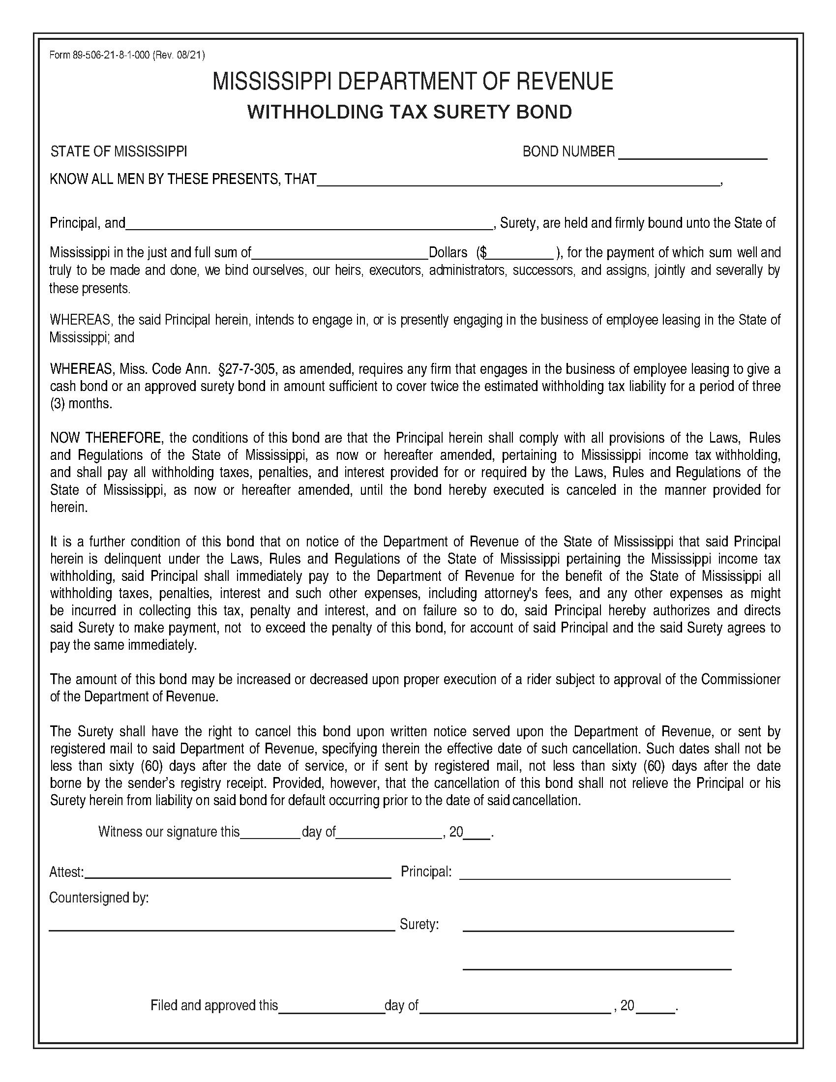 State of Mississippi Withholding Tax: Employee Leasing Bond sample image