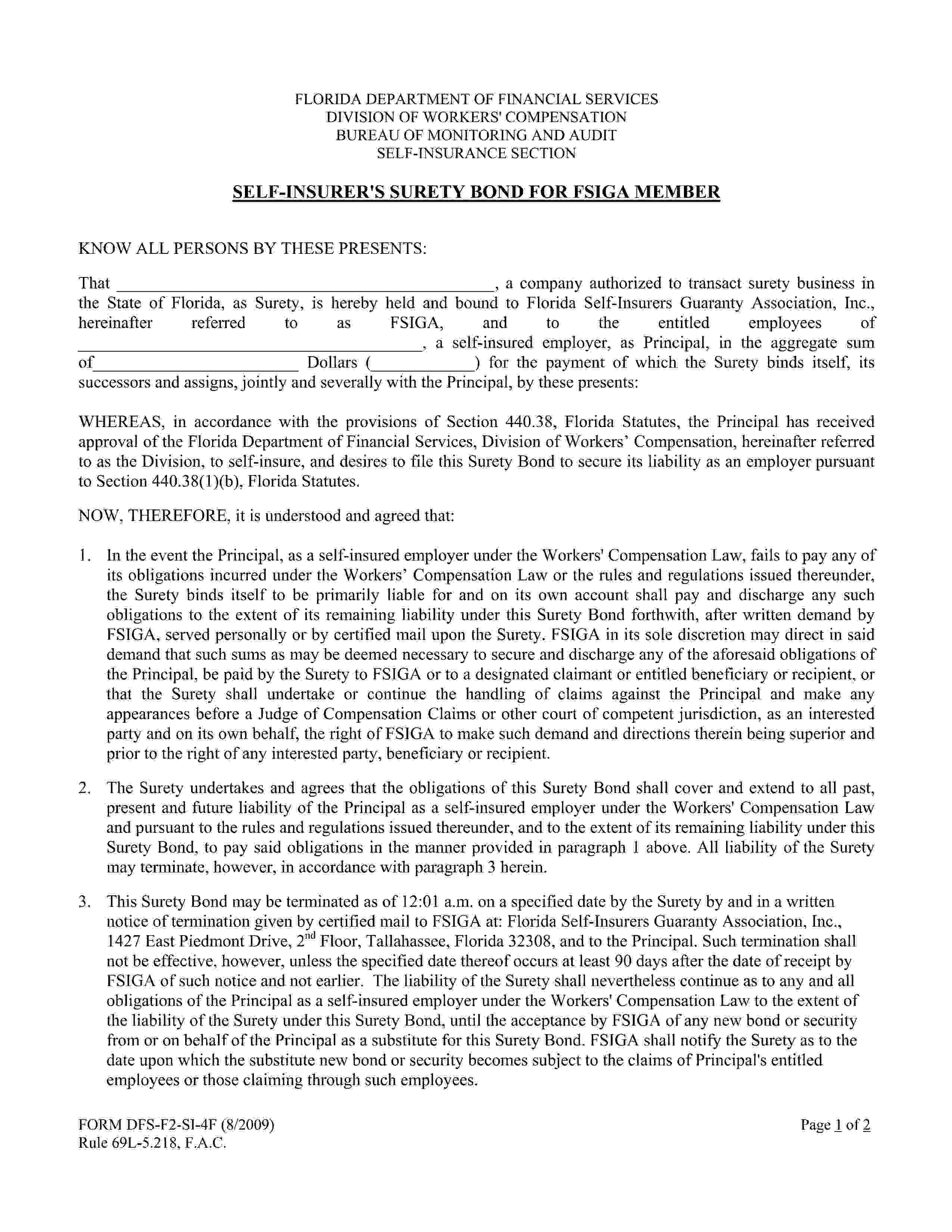 Florida Self-Insurers Guaranty Association, Inc. Workers' Compensation Self Insurer Bond sample image