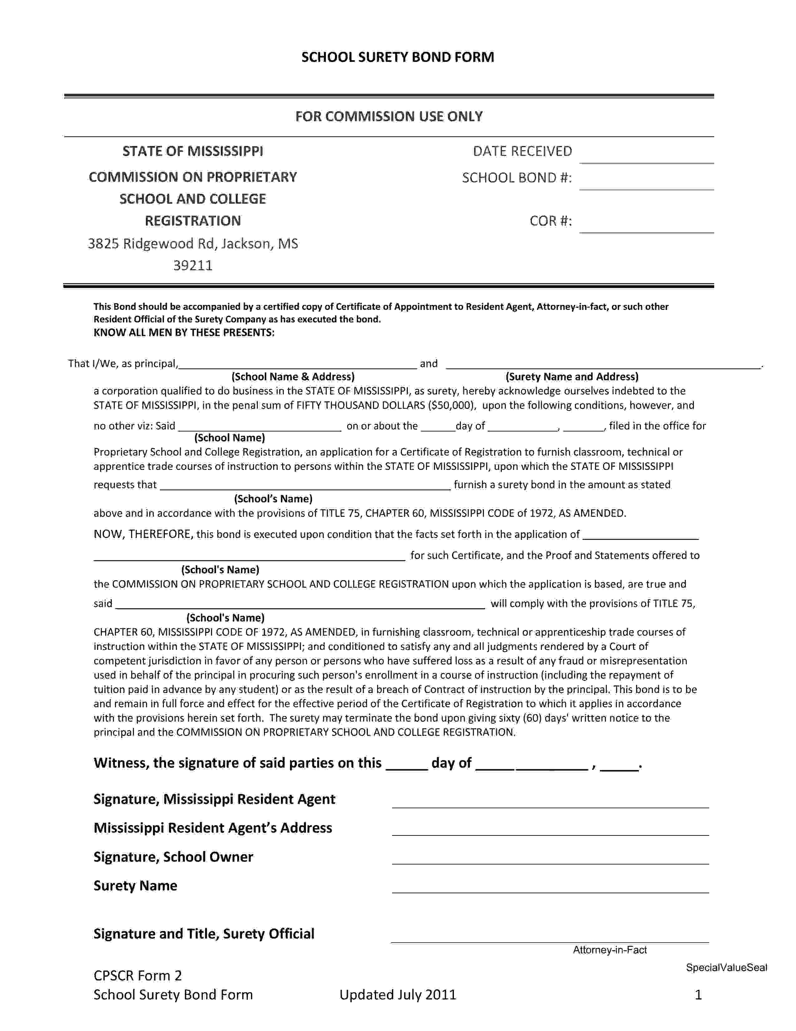 Mississippi Commission on Proprietary School and College Registration Proprietary School & College Registration Bond sample image