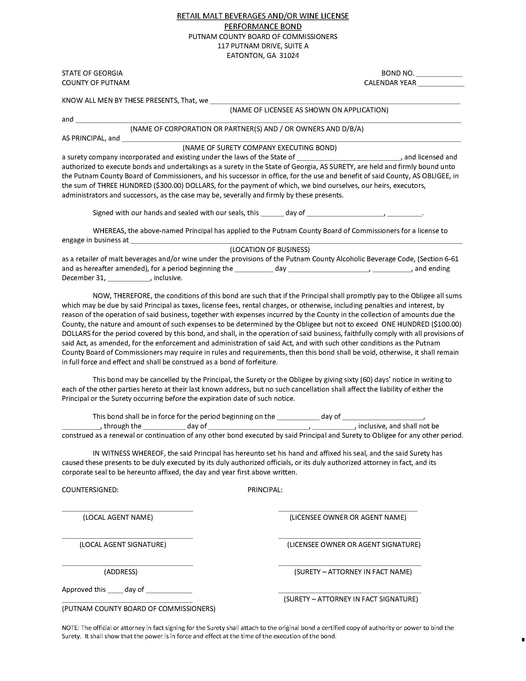 Putnam County Retail Malt Beverage and/or Wine License sample image