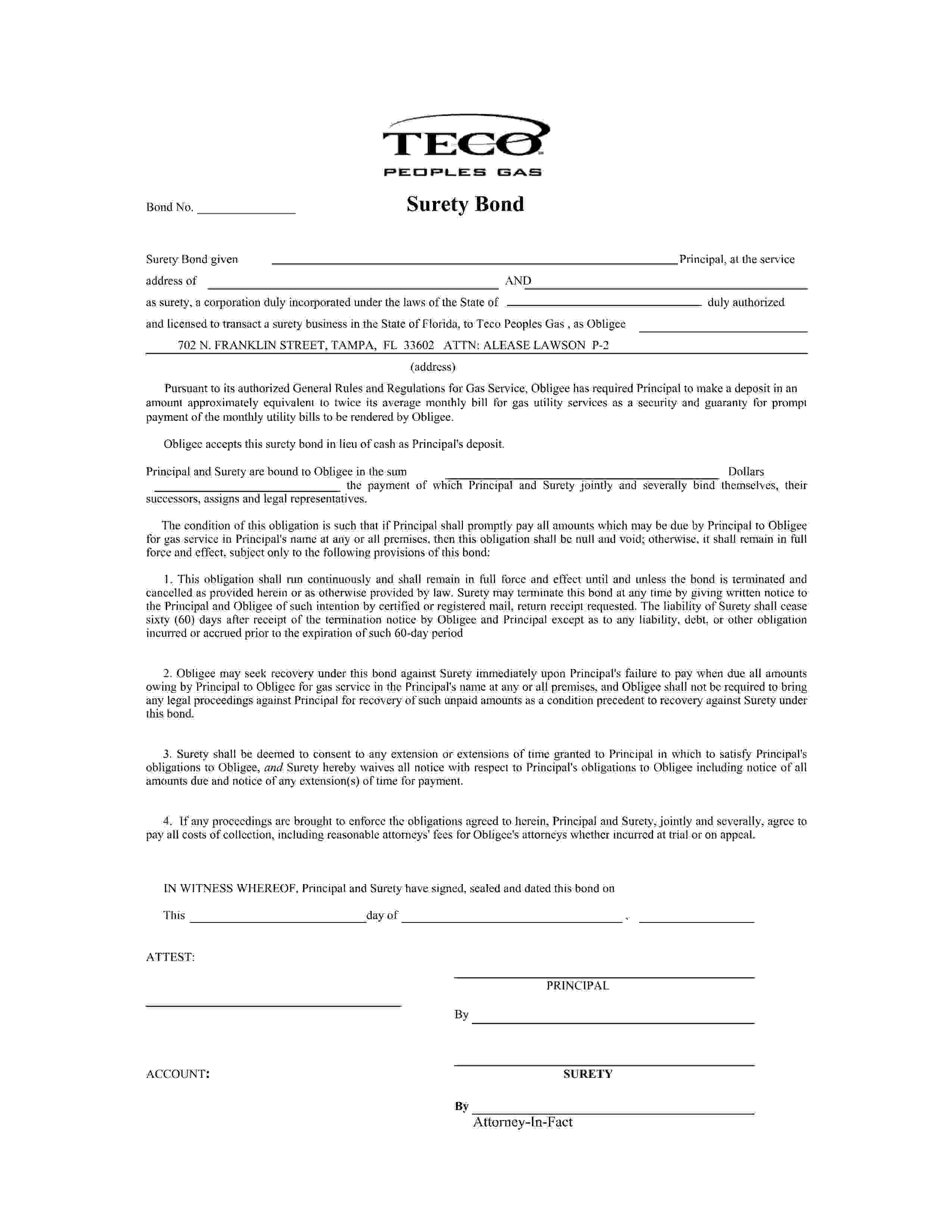 Teco Peoples Gas TECO Peoples Gas System Inc Utility Deposit Bond sample image