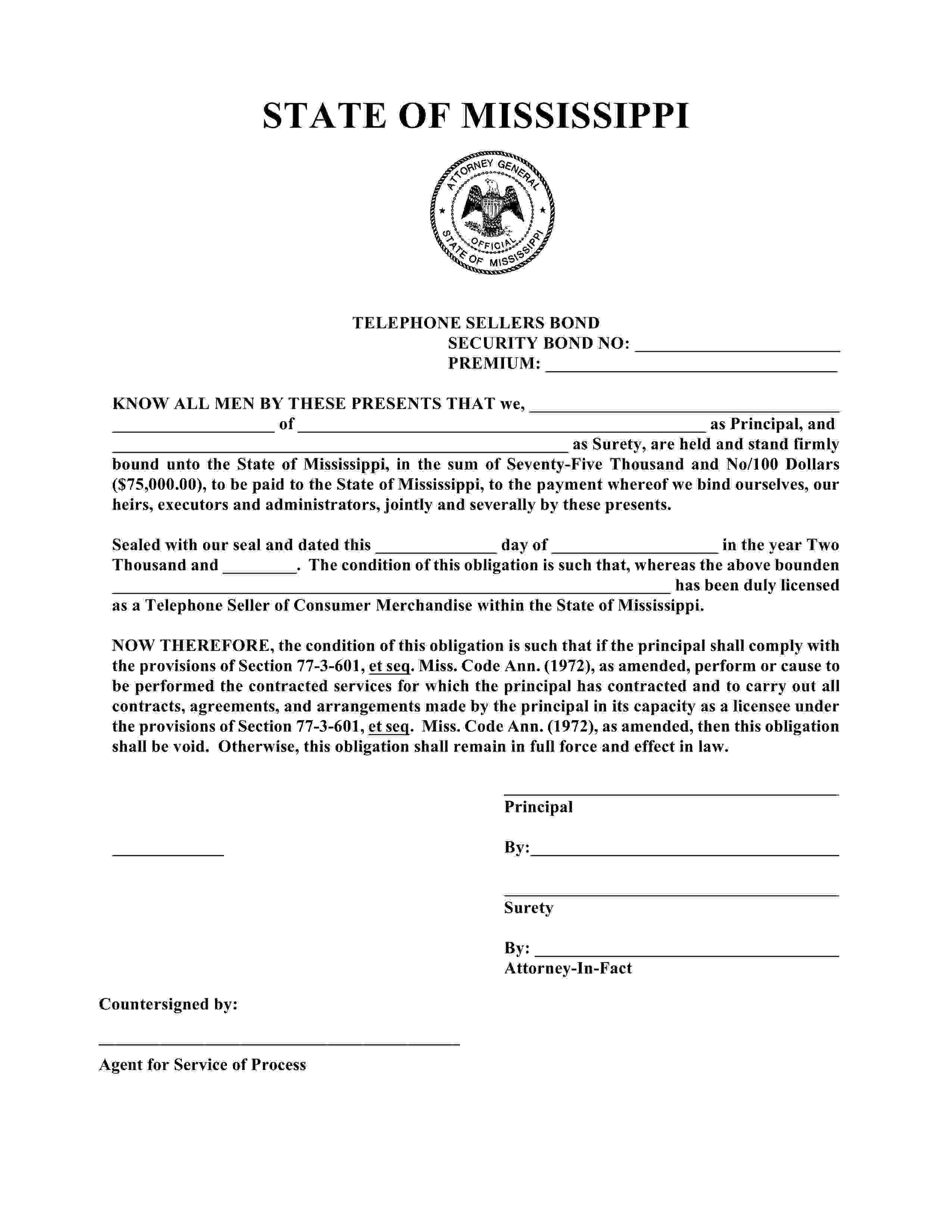 Mississippi Attorney General Telephone Seller Bond sample image