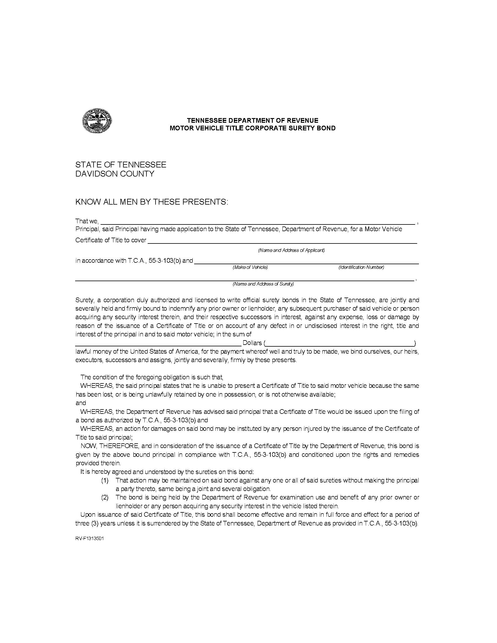 State of Tennessee Motor Vehicle Certificate of Title Bond sample image
