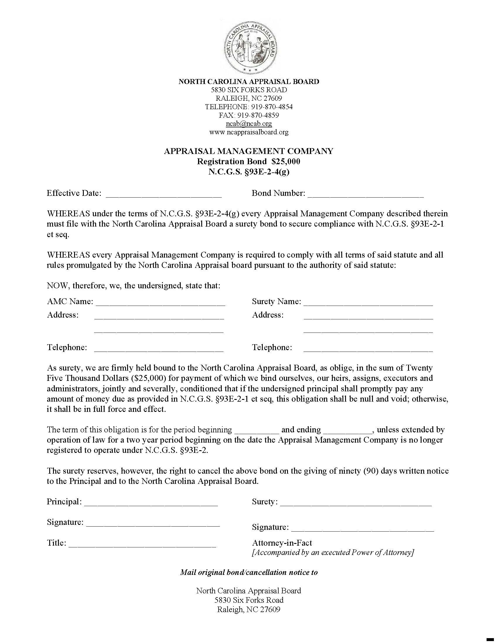 State of North Carolina Appraisal Management Company sample image