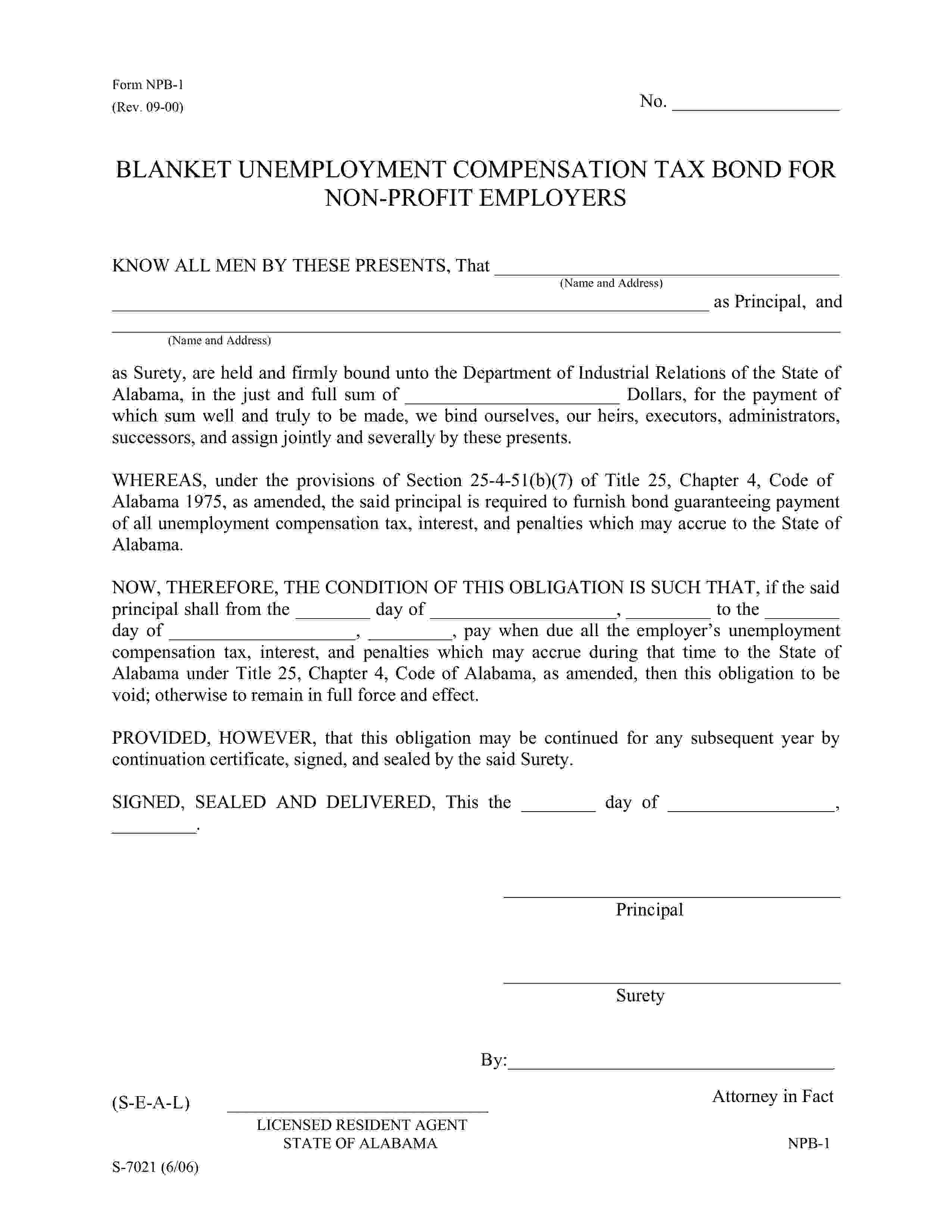 Department of Industrial Relations of the State of Alabama Blanket Unemployment Compensation Tax Bond sample image