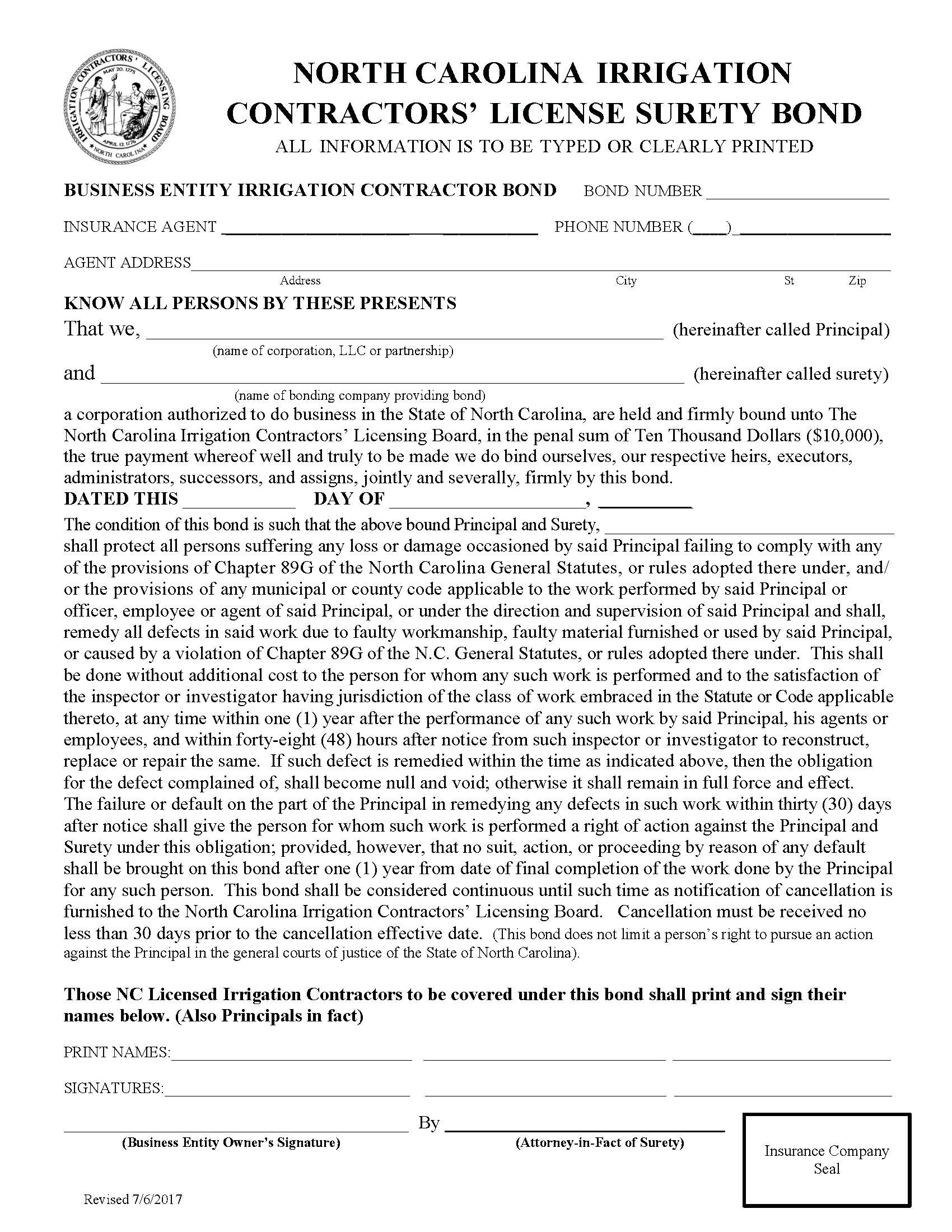 North Carolina Irrigation Contractors Licensing Board Irrigation Contractor (Business Entity) / Irrigation Contractor (Individual/Sole Proprietor) sample image