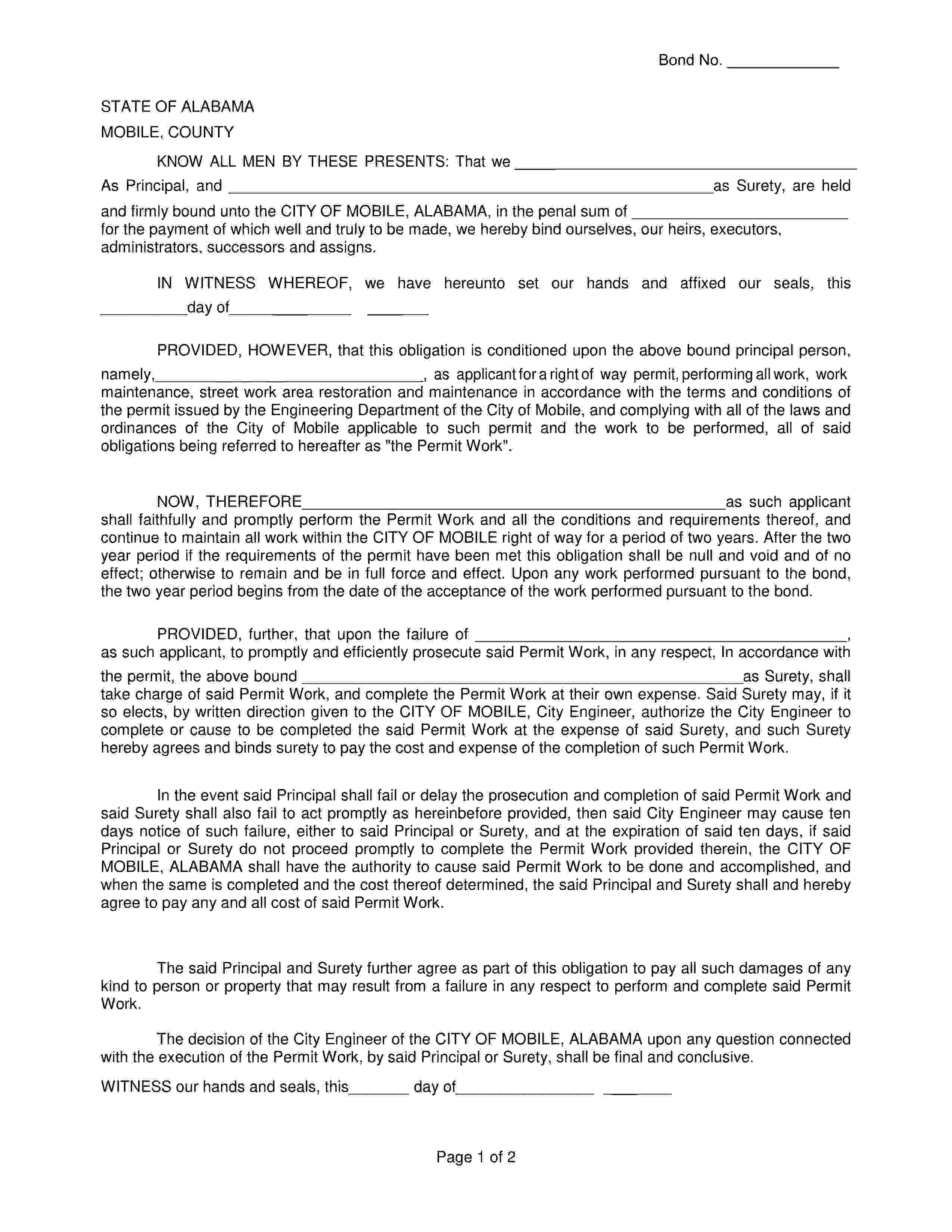City of Mobile Urban Development Department Mobile - City Right of Way Permit Bond sample image