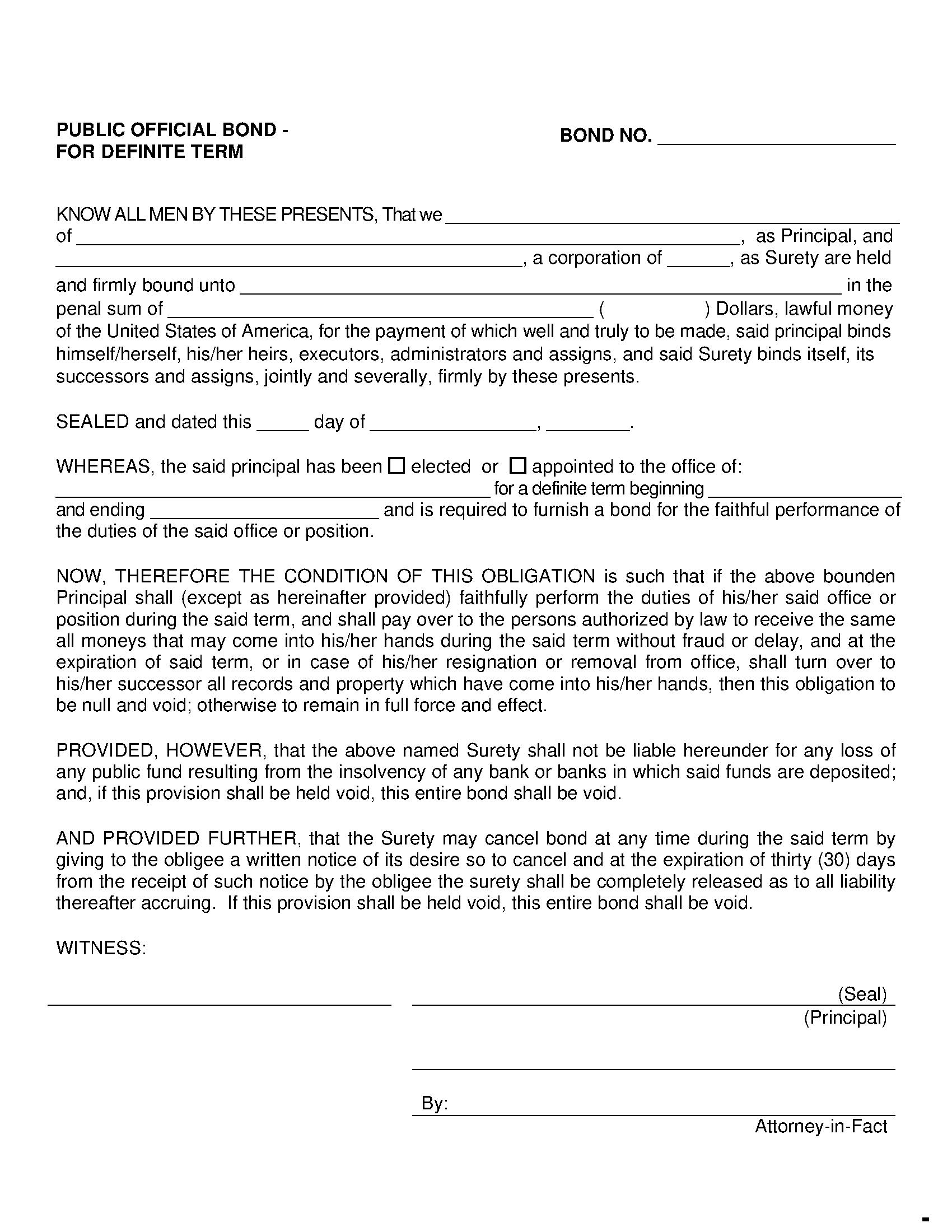 Public Official Position Schedule - Other than Treasurer or Tax Collector Bond sample image