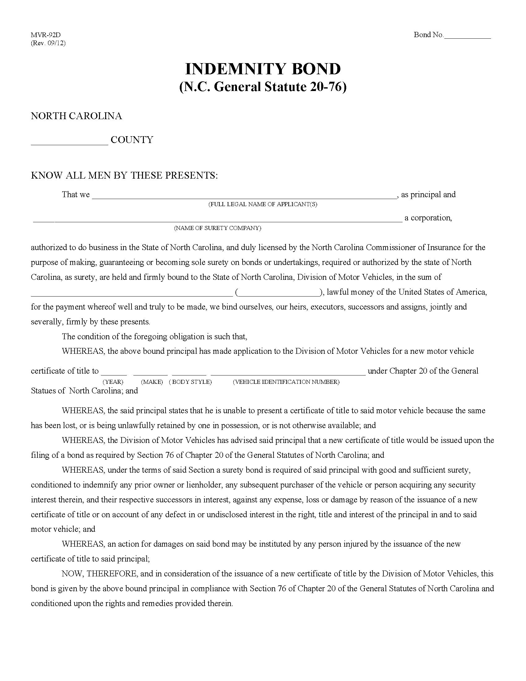 State of North Carolina Motor Vehicle Certificate of Title Indemnity sample image