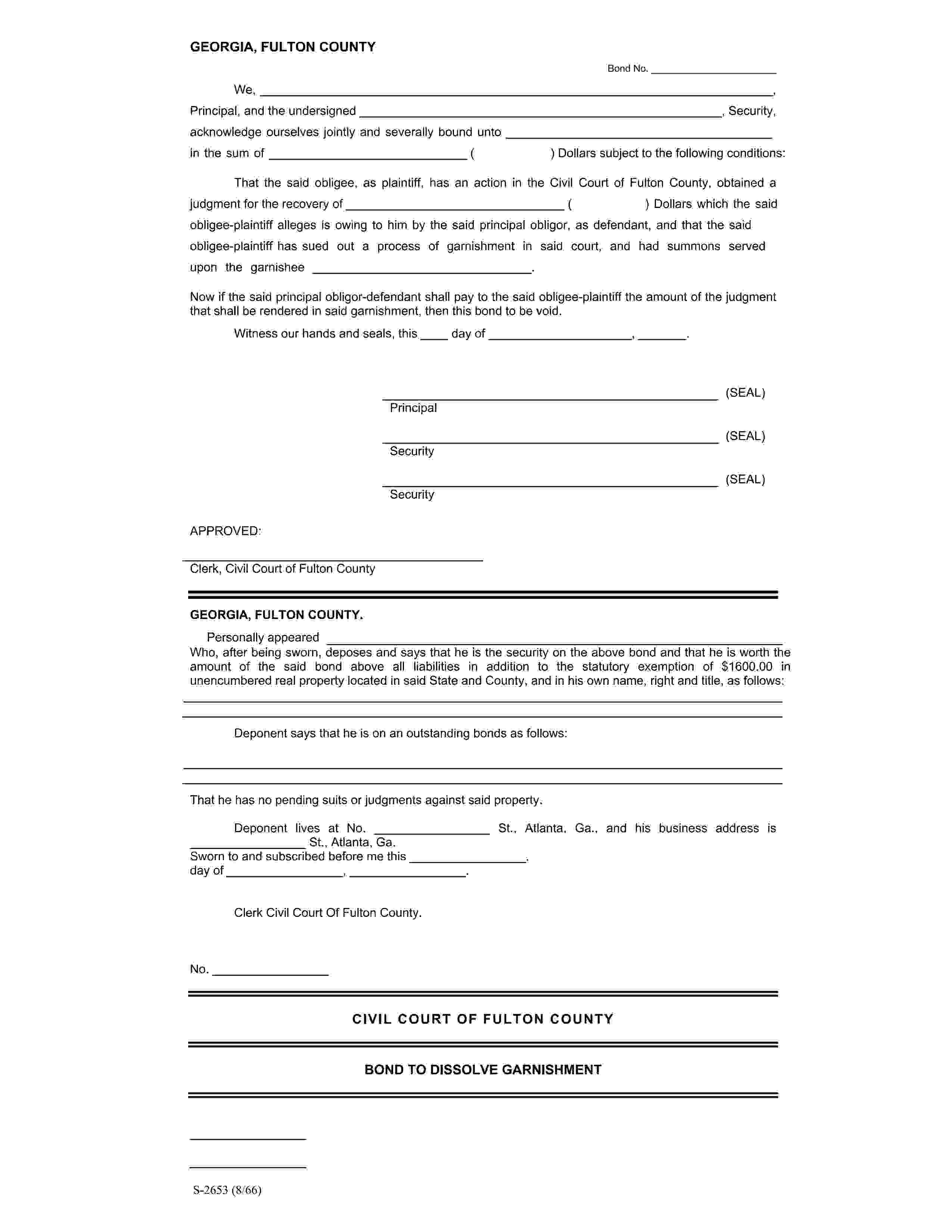 Fulton County Court Fulton County Dissolve Garnishment Bond sample image