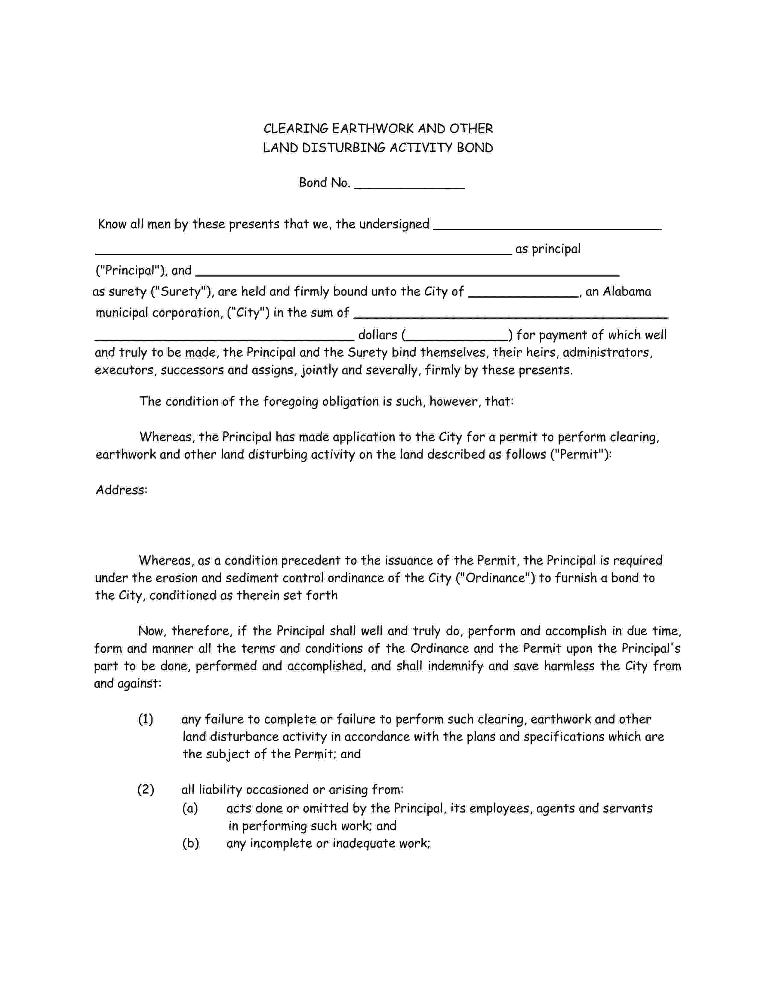 City of Irondale Irondale - City Clearing, Earthwork and Other Land Disturbing Activity Bond sample image