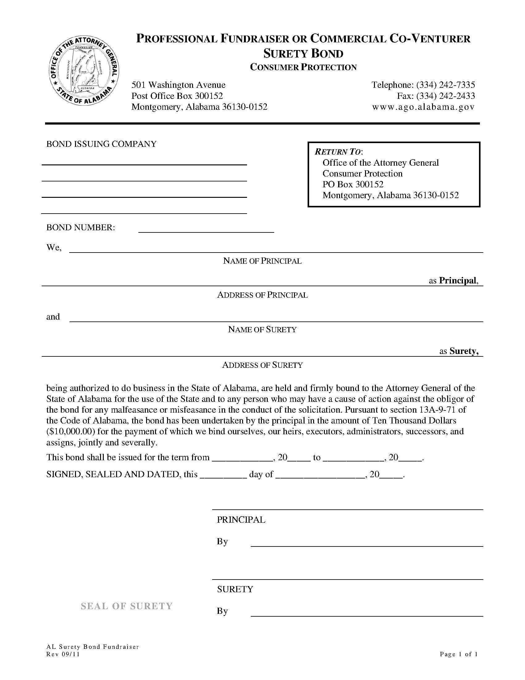 State of Alabama Professional Fundraiser or Commercial Co-Venturer Bond sample image