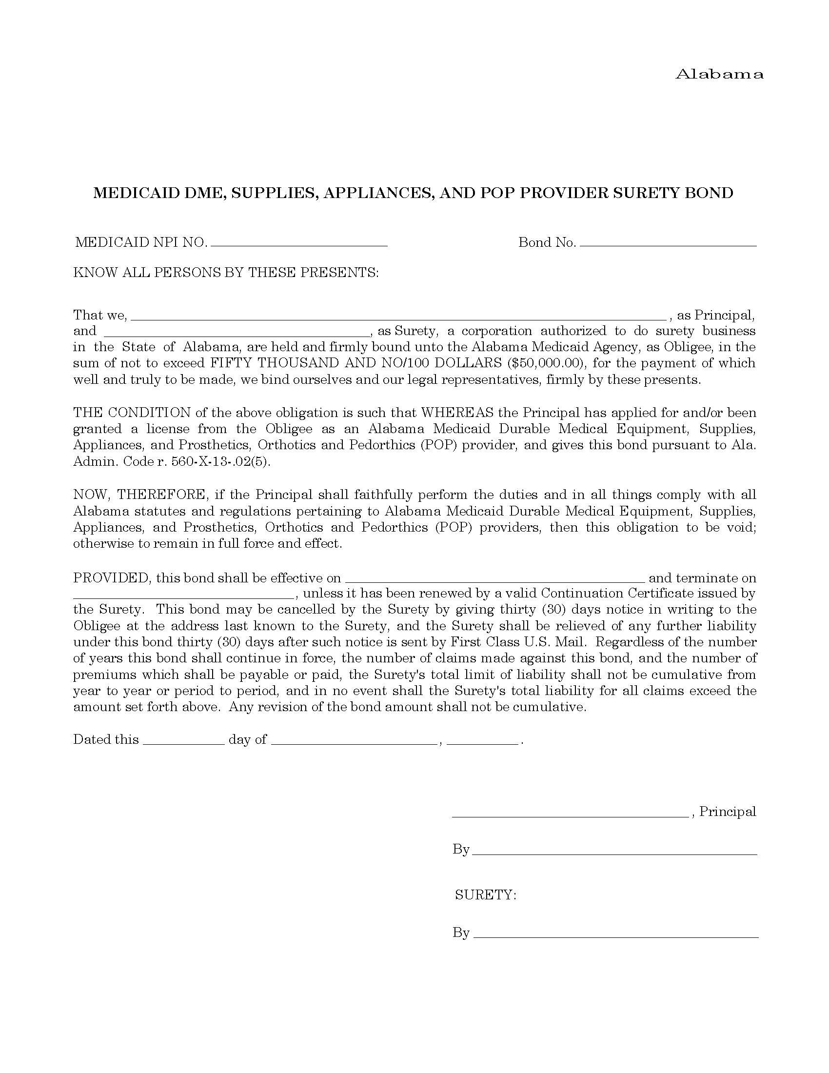State of Alabama Medicaid DME and Medical Supply Provider Bond sample image