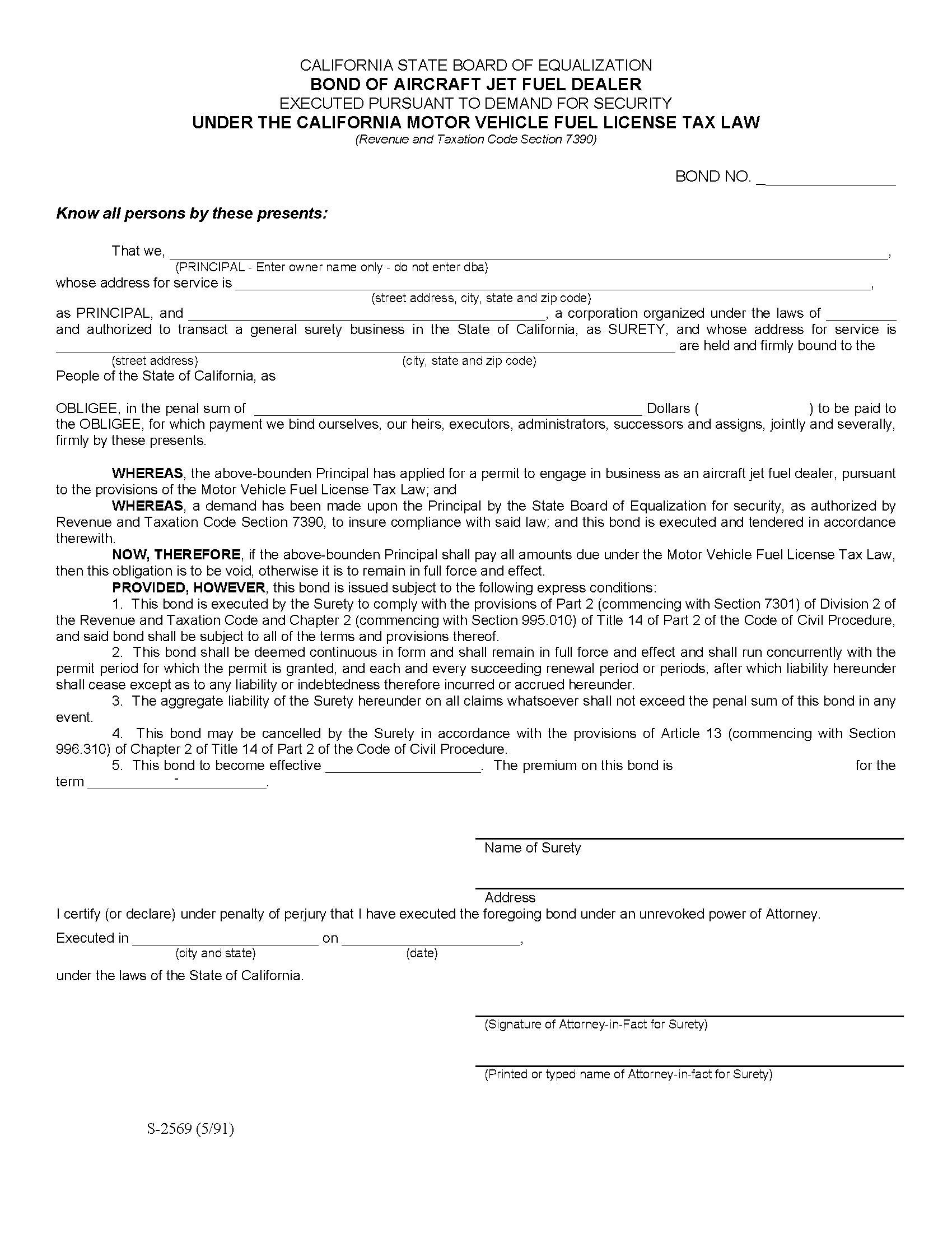California State Board of Equalization Aircraft Jet Fuel Dealer sample image