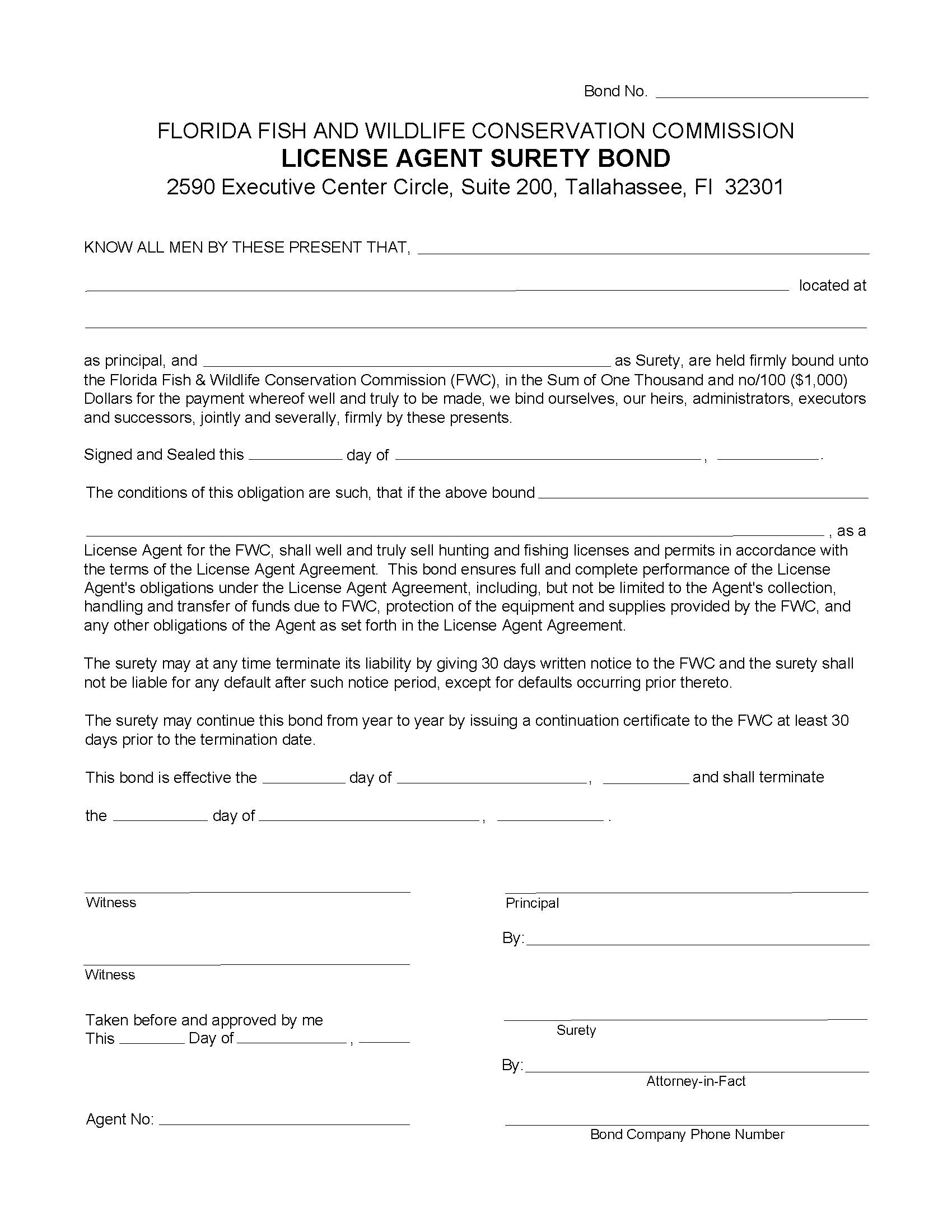 State of Florida Hunting and Fishing License Agent Bond sample image