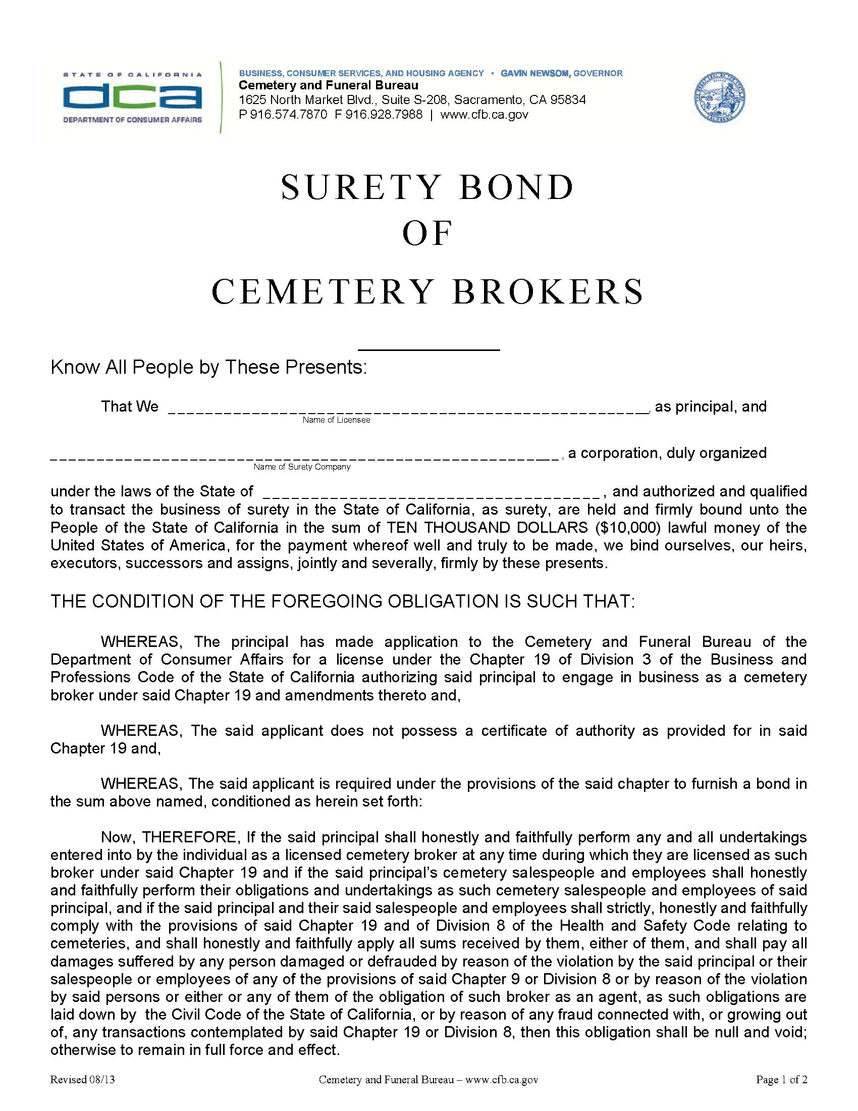 Cemetary and Funeral Bureau Cemetery Brokers 3 YR sample image