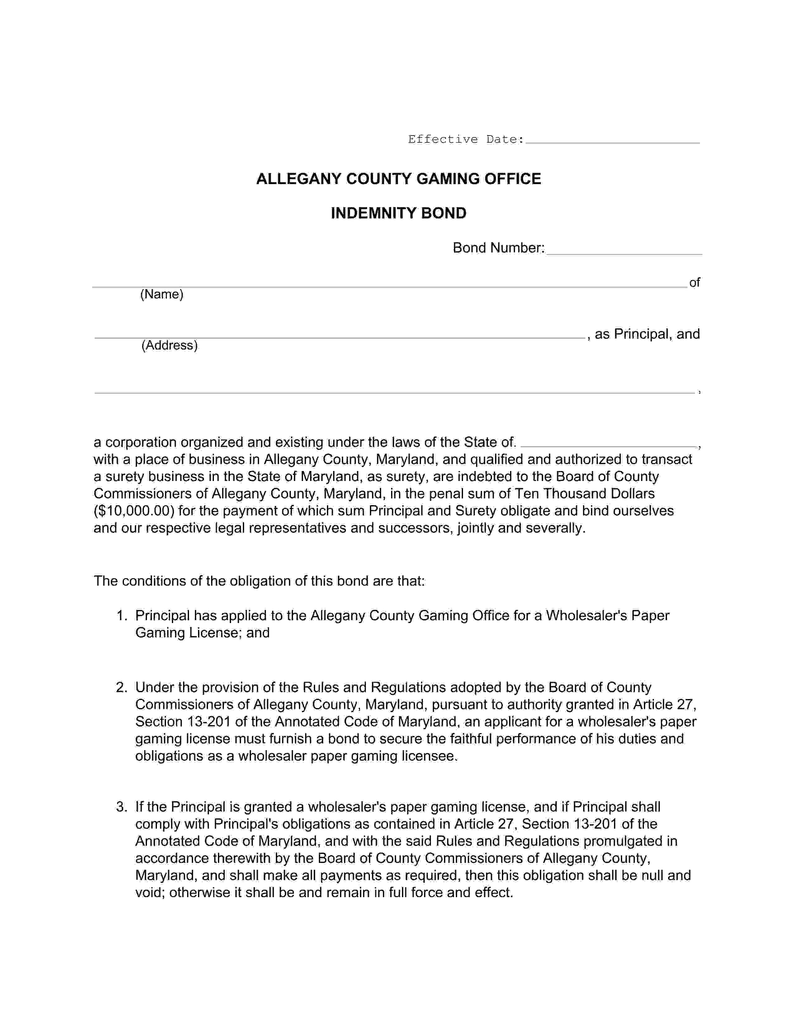 Allegany County Gaming Office Allegany - County Wholesaler's Paper Gaming License sample image