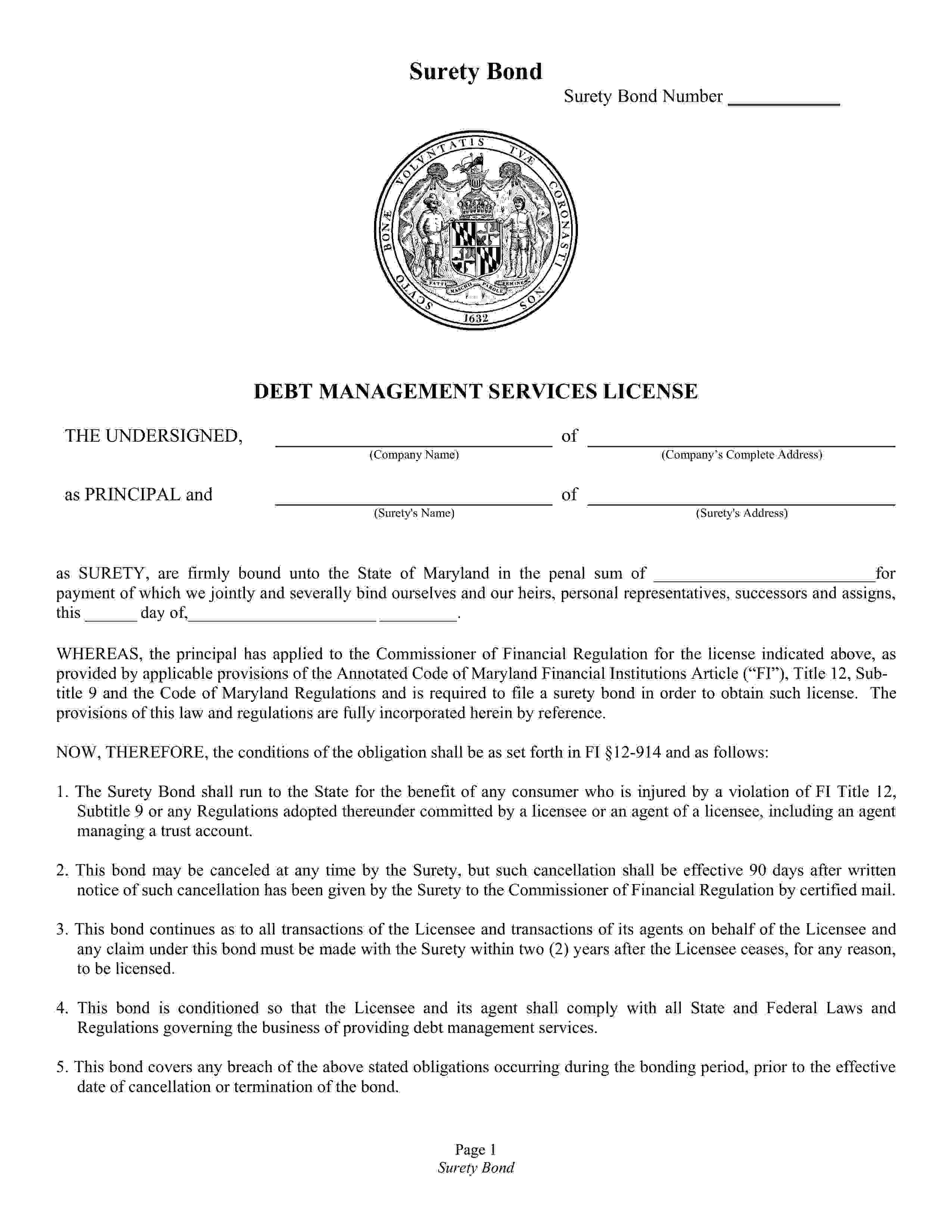 Commissioner of Financial Regulations Debt Management Services License sample image