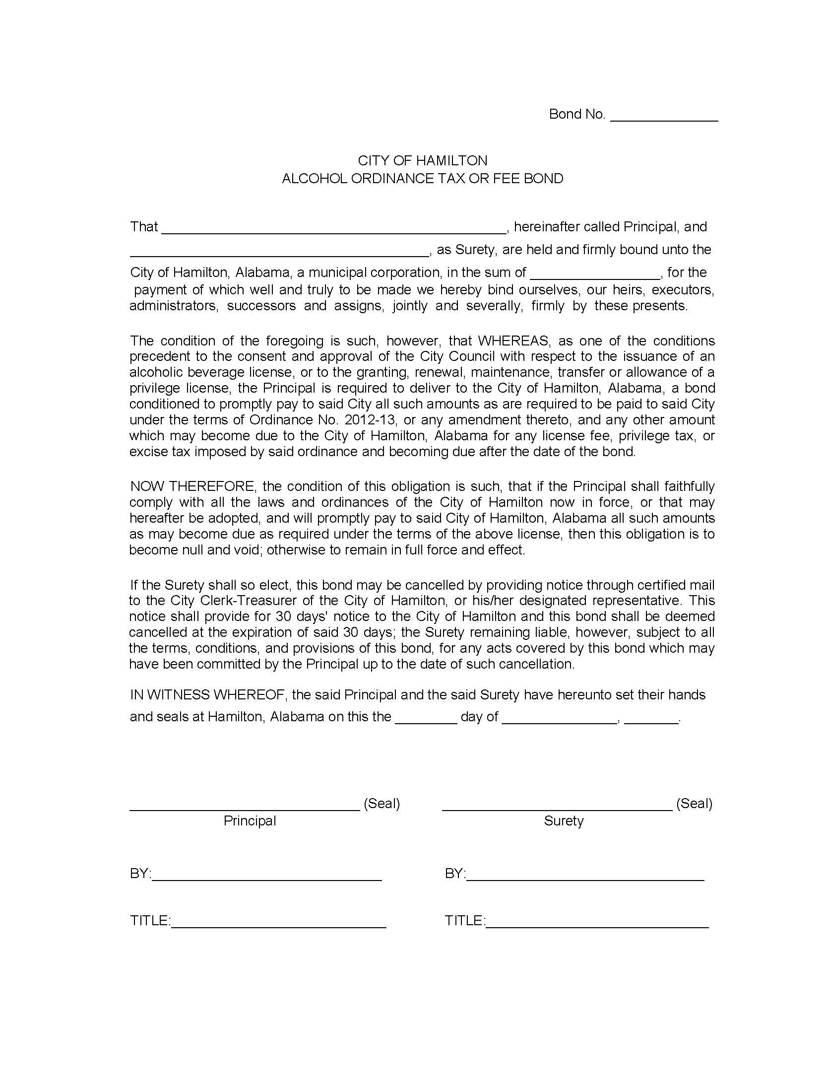 City of Hamilton Hamilton - City Alcohol Ordinance Tax or Fee Bond sample image