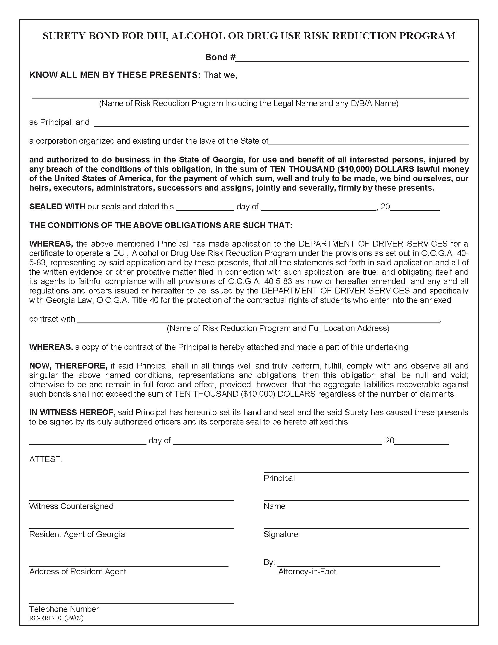 State of Georgia DUI Alcohol or Drug Use Risk Reduction Program sample image