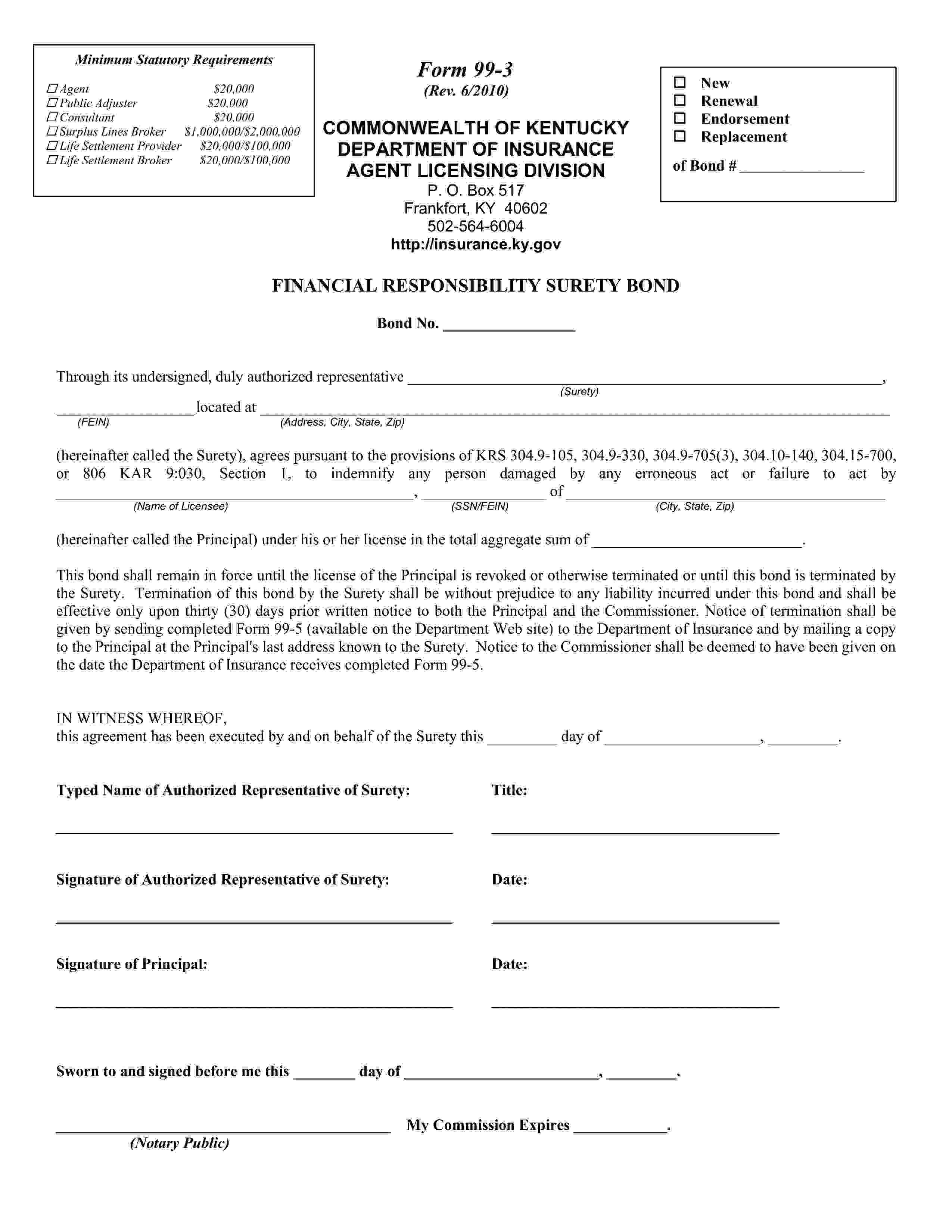 Department of Insurance Life Settlement Provider sample image