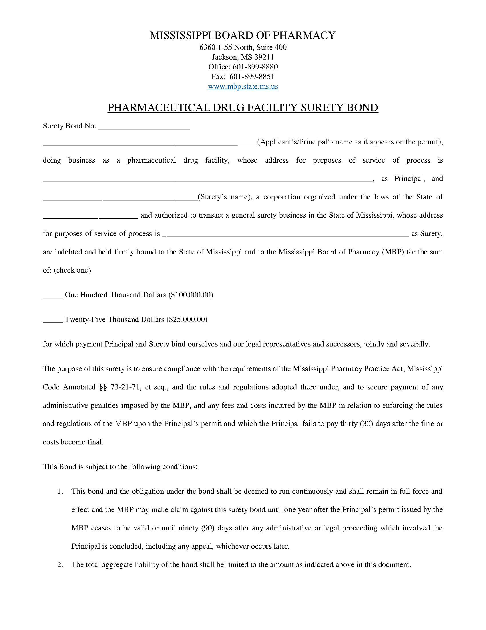 State of Mississippi Pharmaceutical Drug Facility Bond sample image