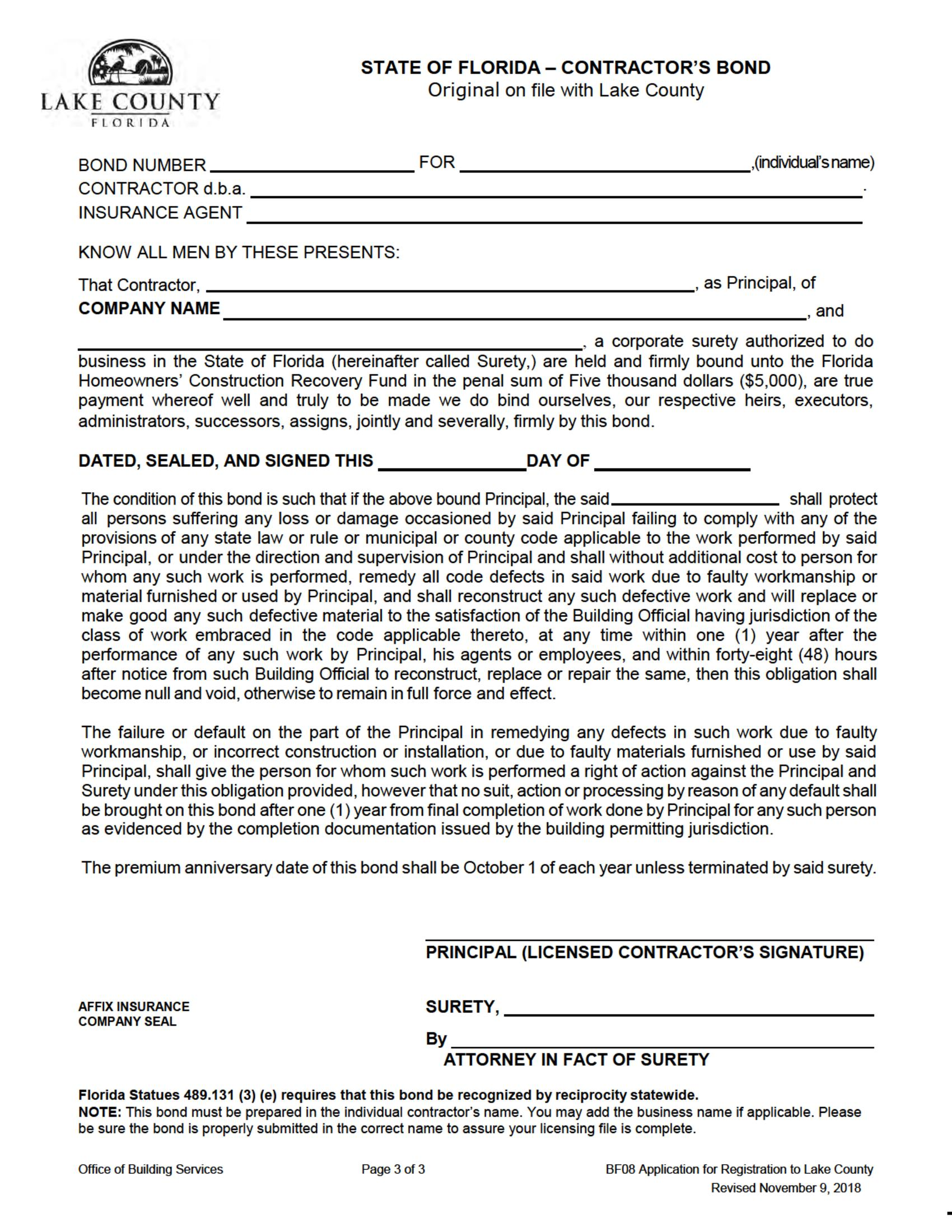 Lake County Contractors License sample image