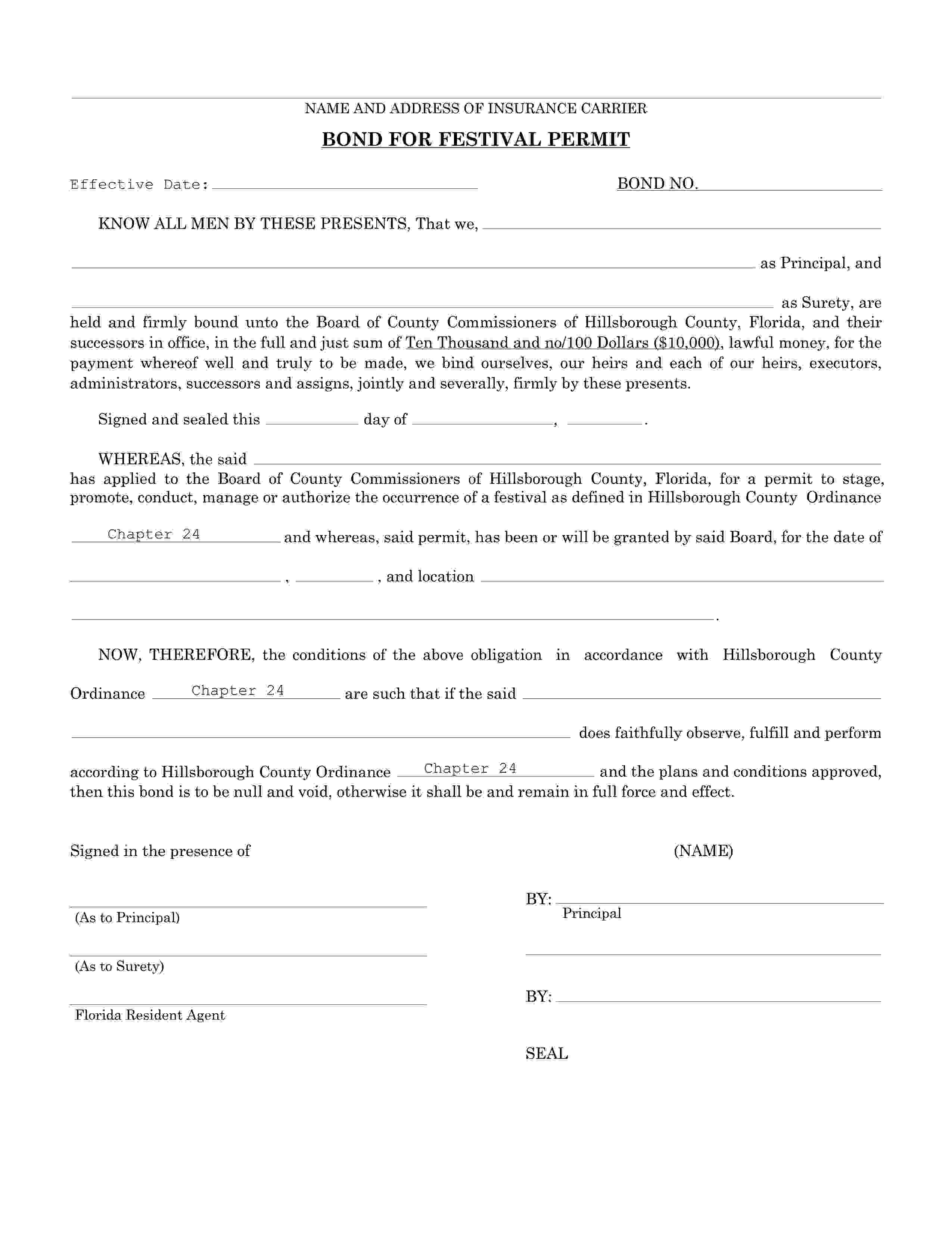 Board of County Commissioners of Hillsborough County Hillsborough - County Festival Permit Bond sample image