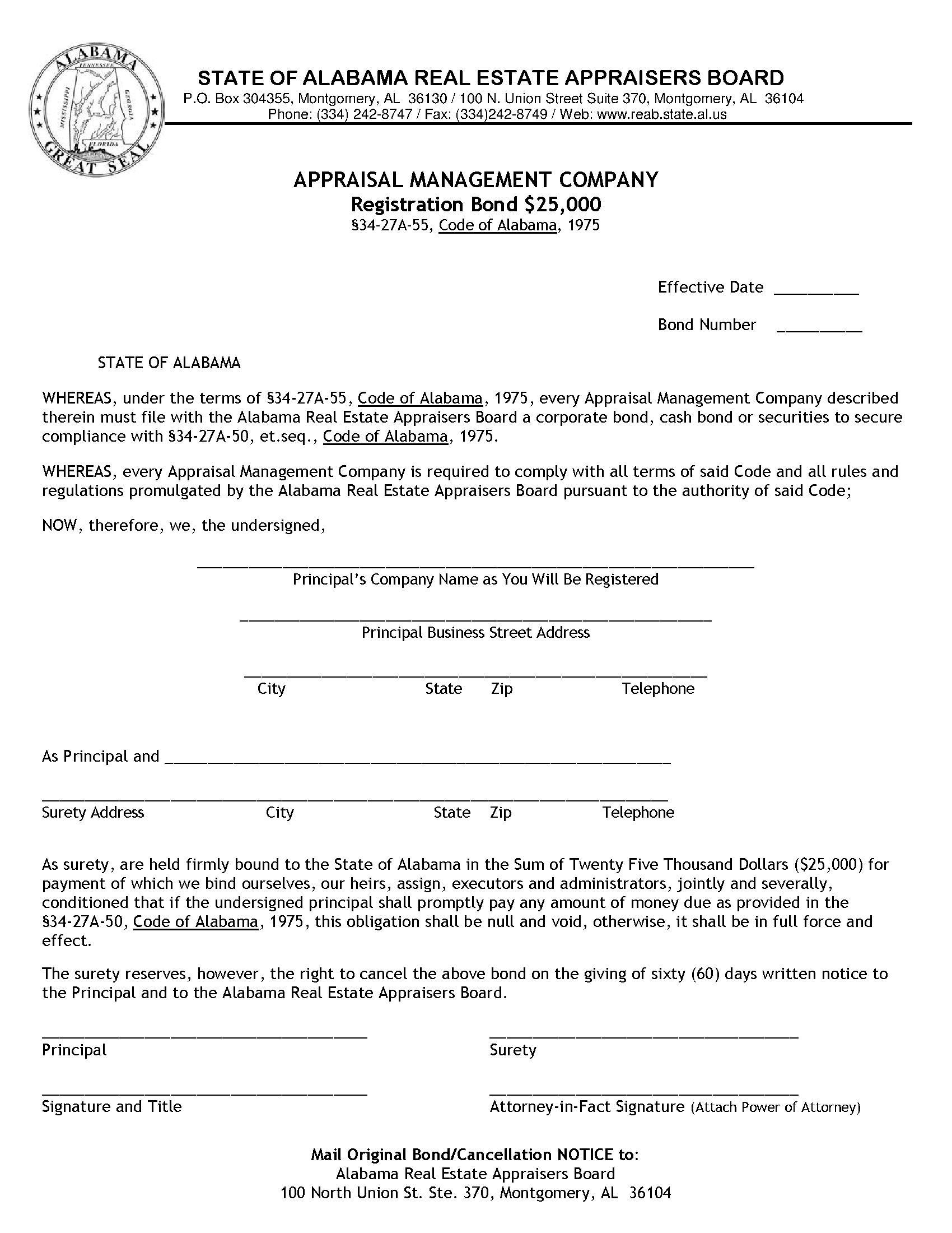 State of Alabama Appraisal Management Company Bond sample image