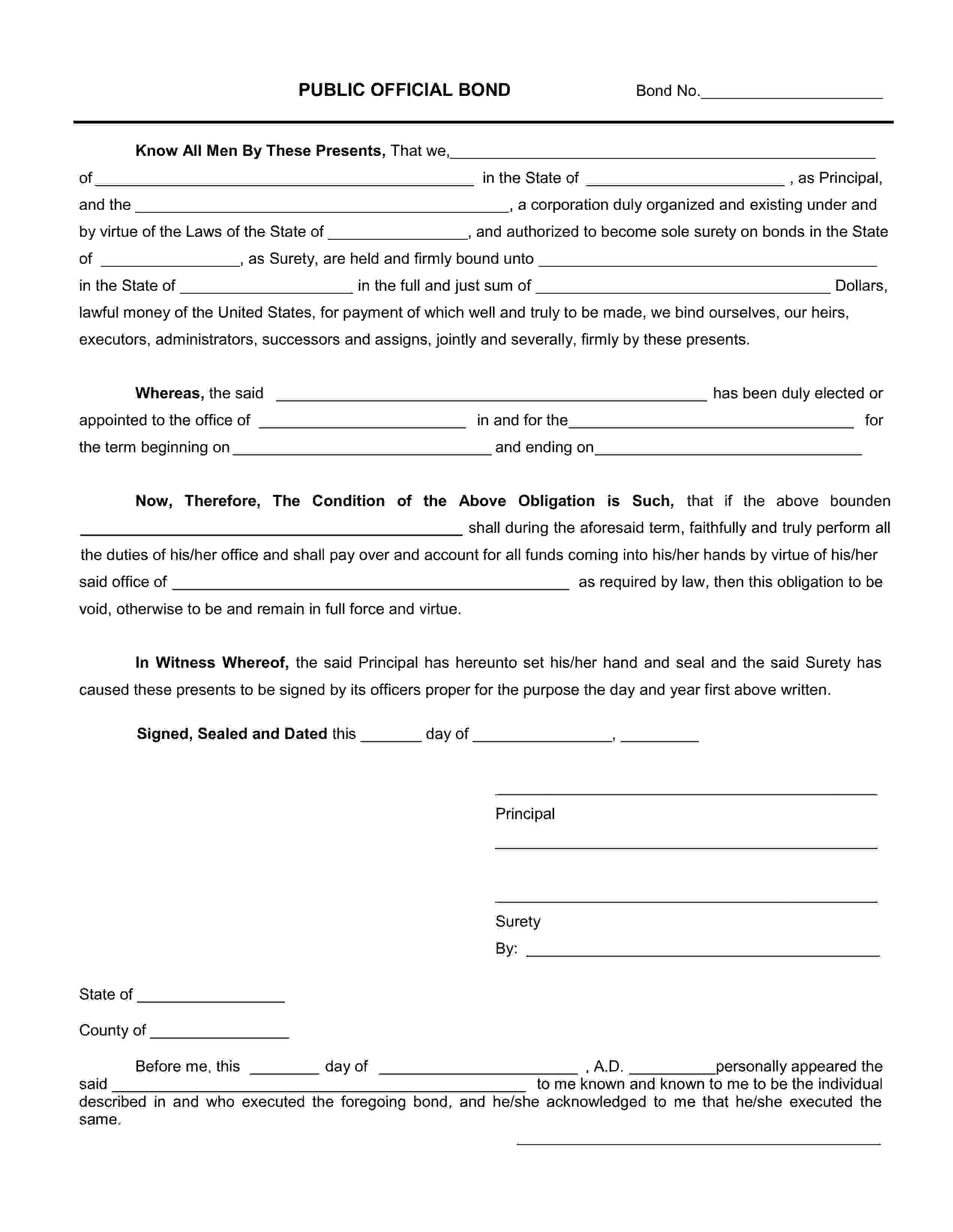 Treasurer or Tax Collector Bond sample image