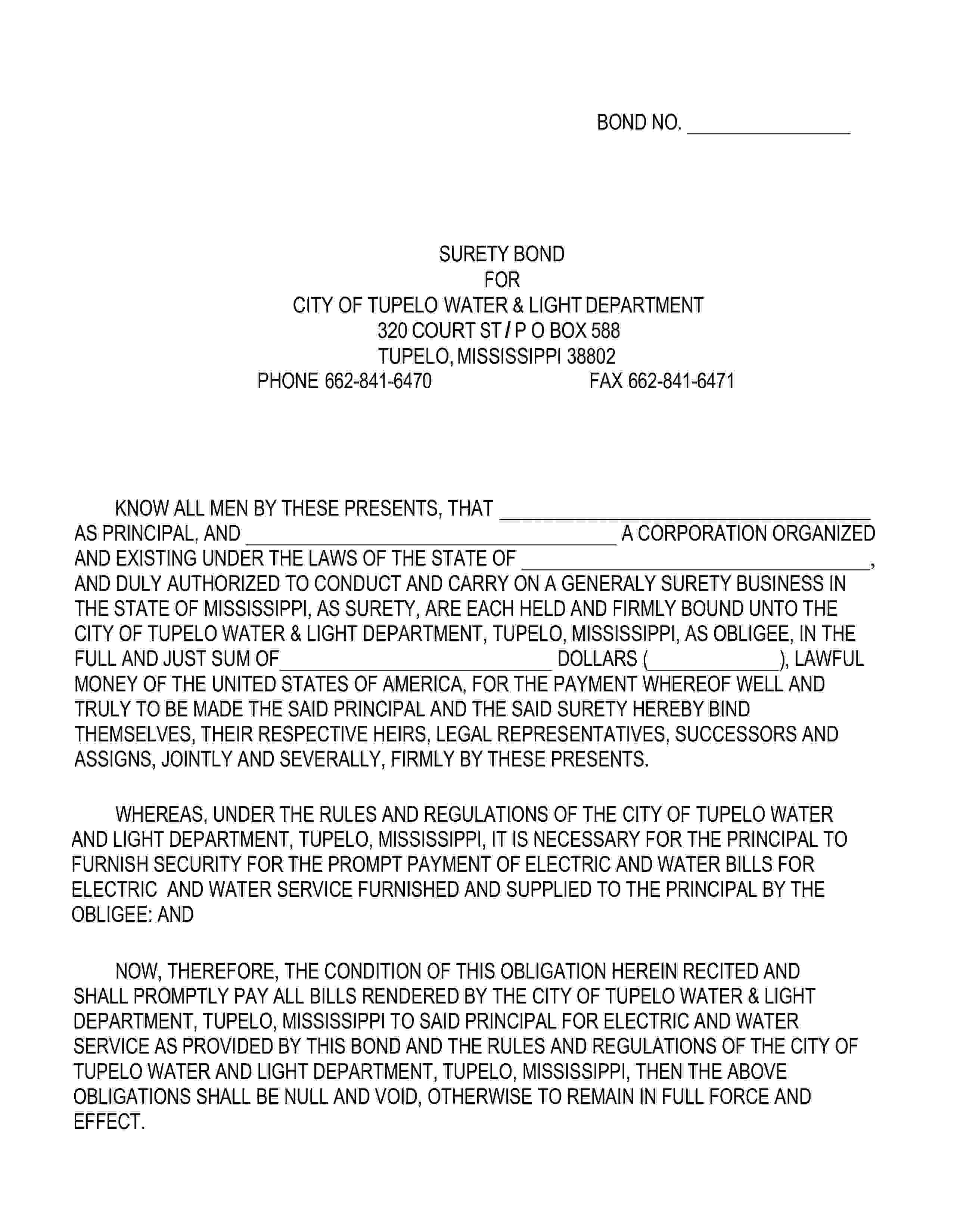 City of Tupelo Tupelo Water & Light Utility Deposit Bond sample image