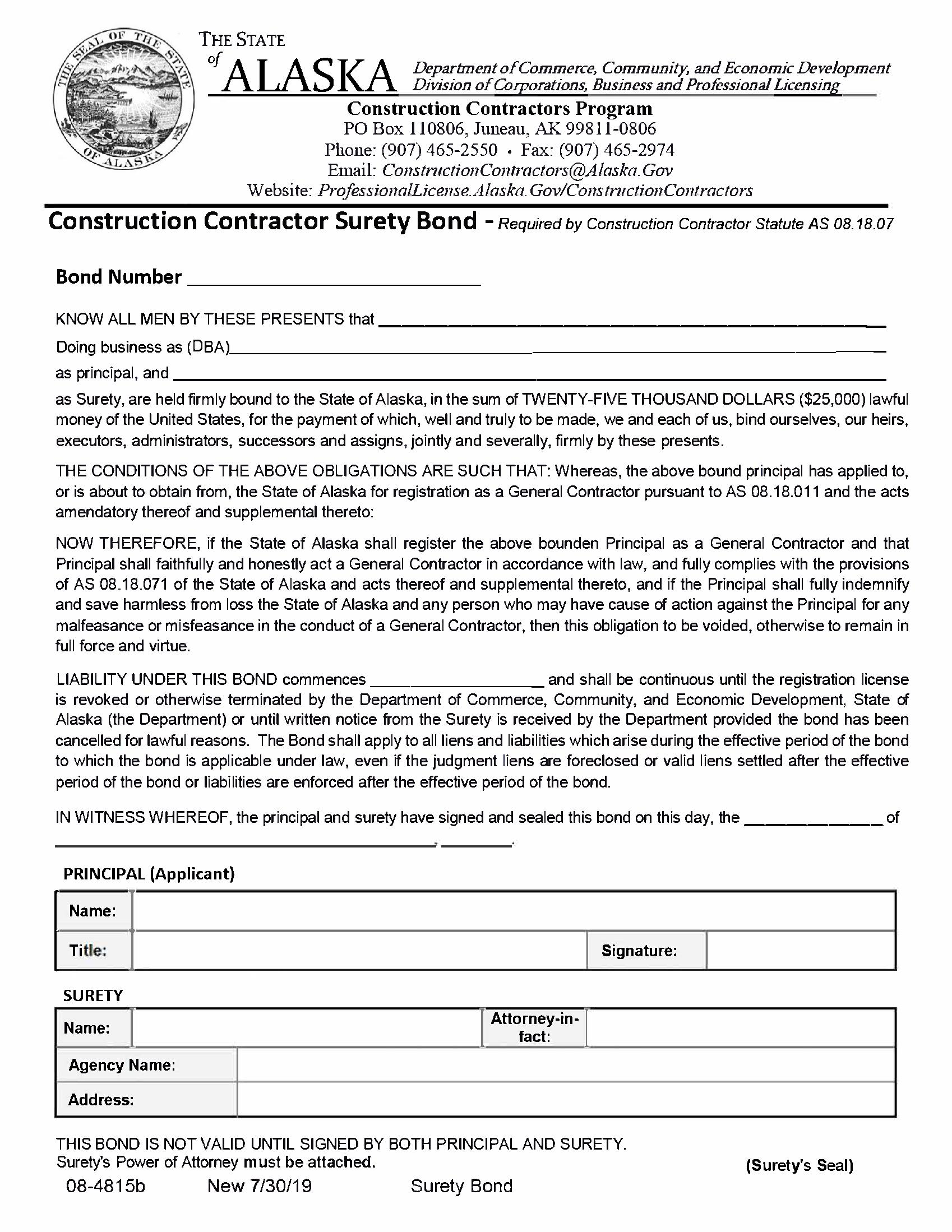 State of Alaska Construction Contractor sample image