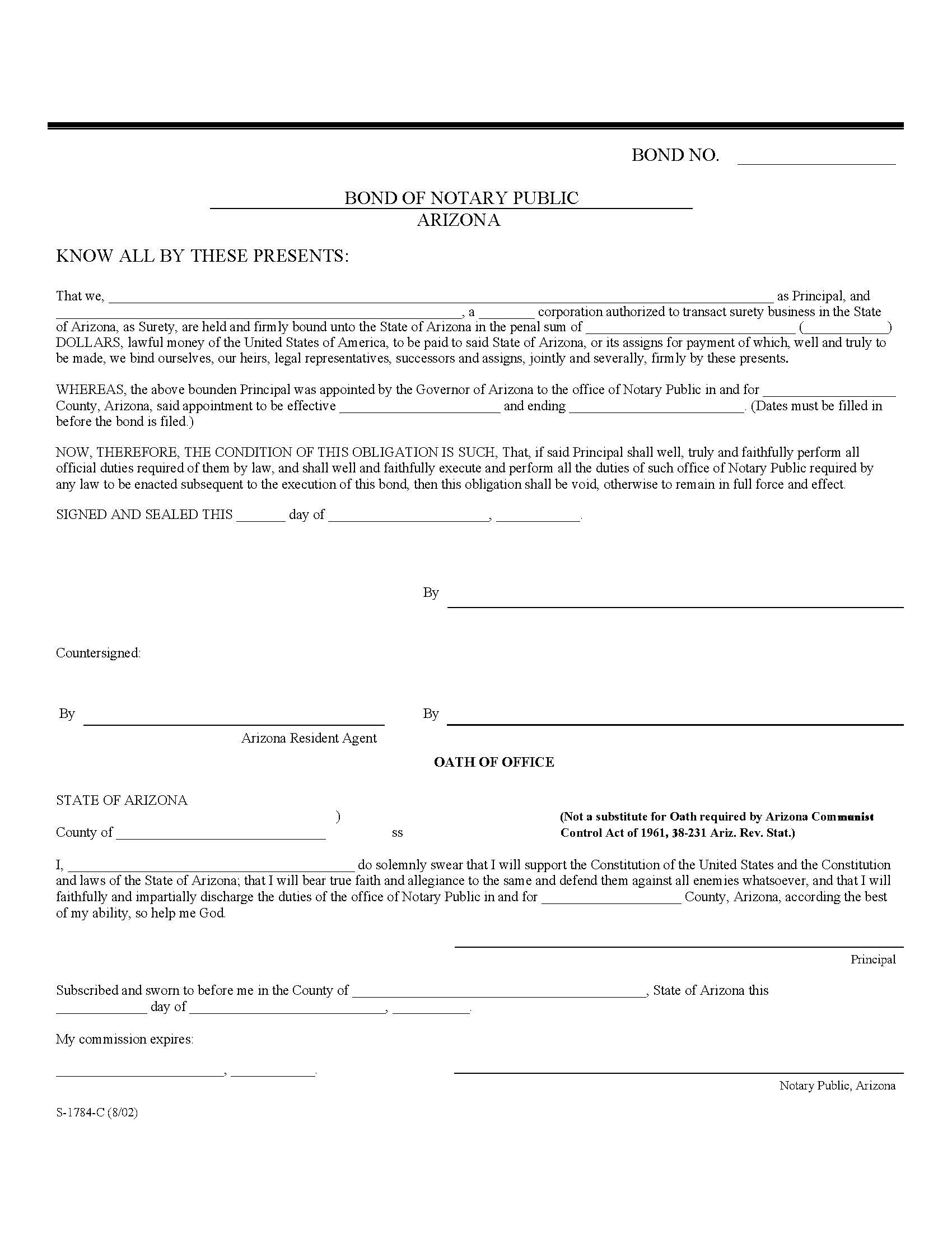 State of Arizona Notary Public sample image