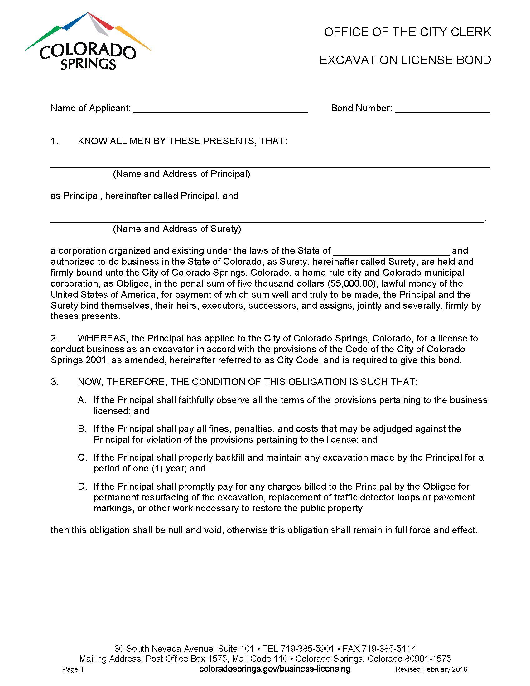 City of Colorado Springs Excavation License sample image