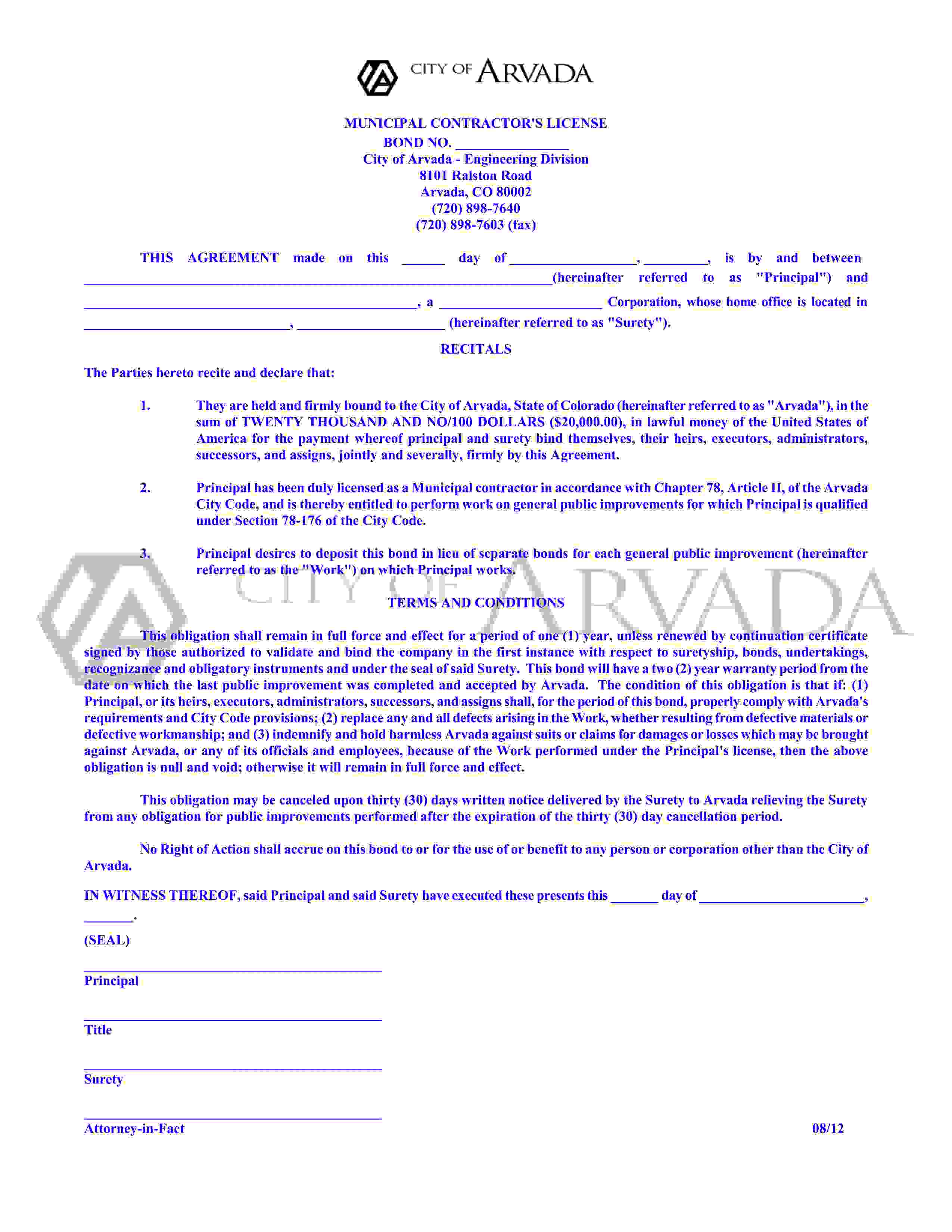 Arvada - City Municipal Contractor's License sample image