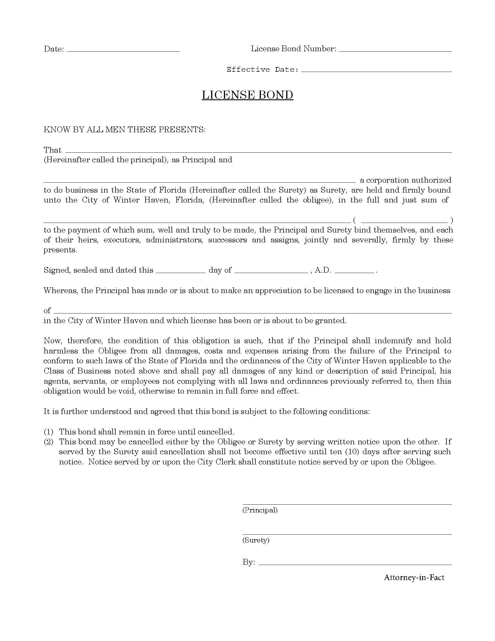 Winter Haven - City License/Permit Bond sample image