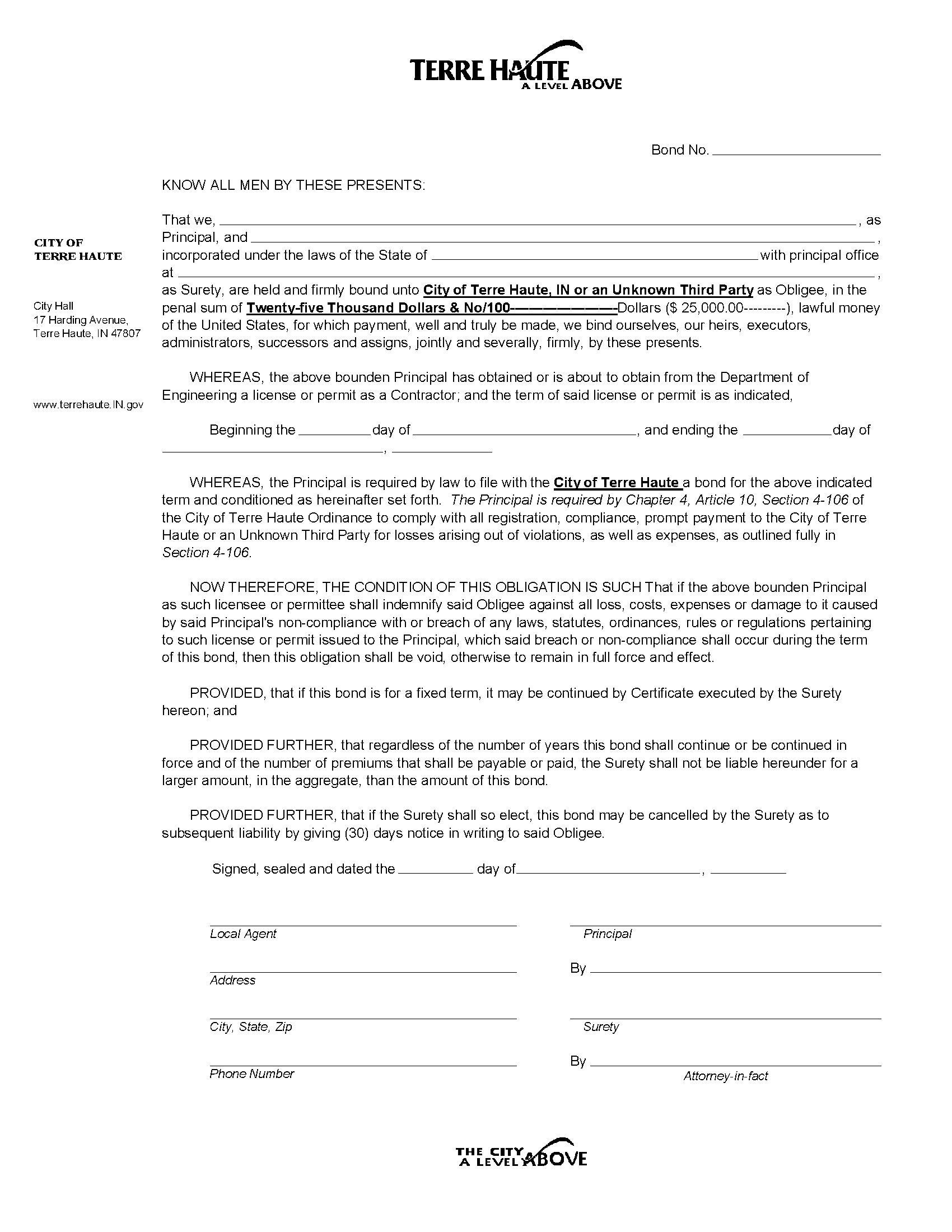 Terre Haute - City Contractor's License/Permit sample image
