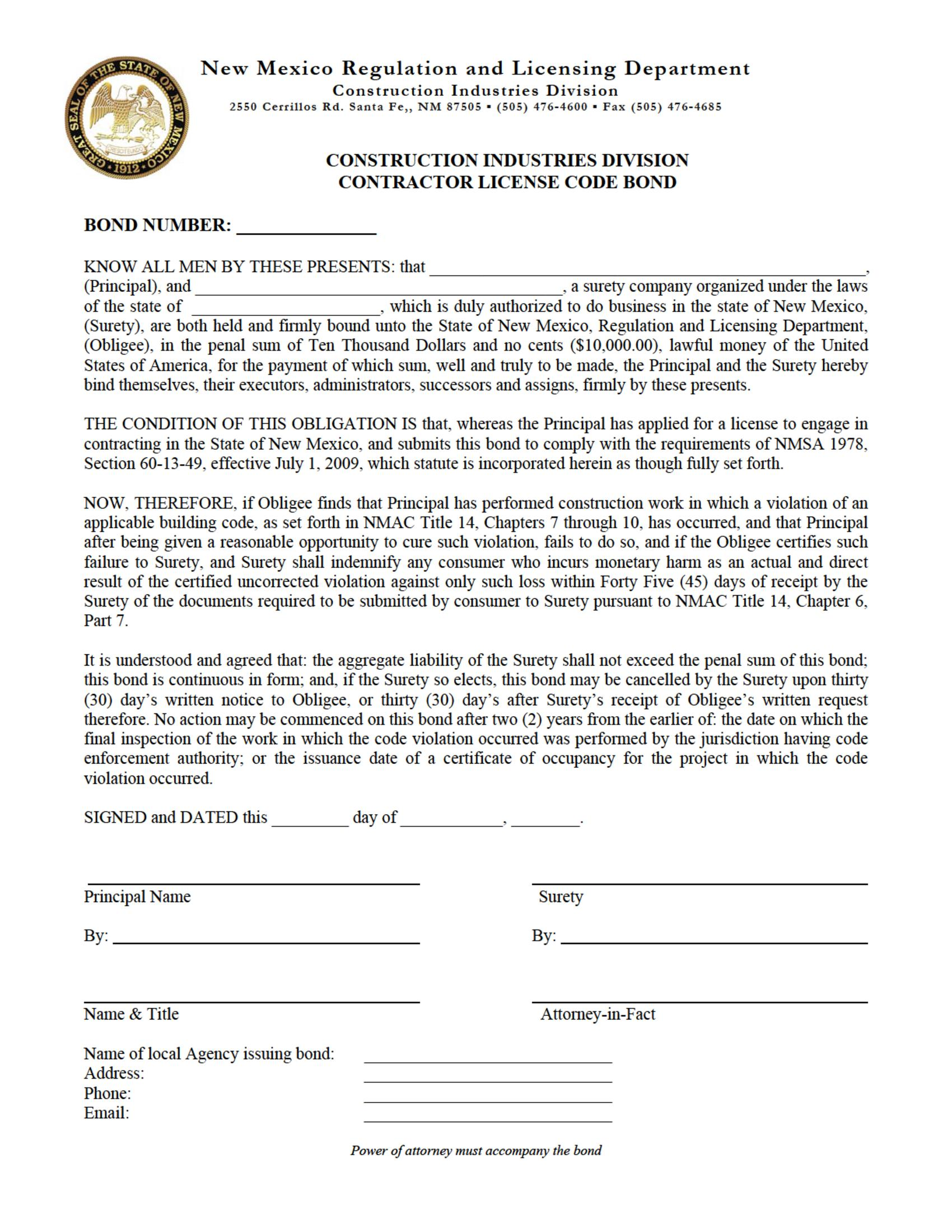 State of New Mexico Contractor License Code sample image