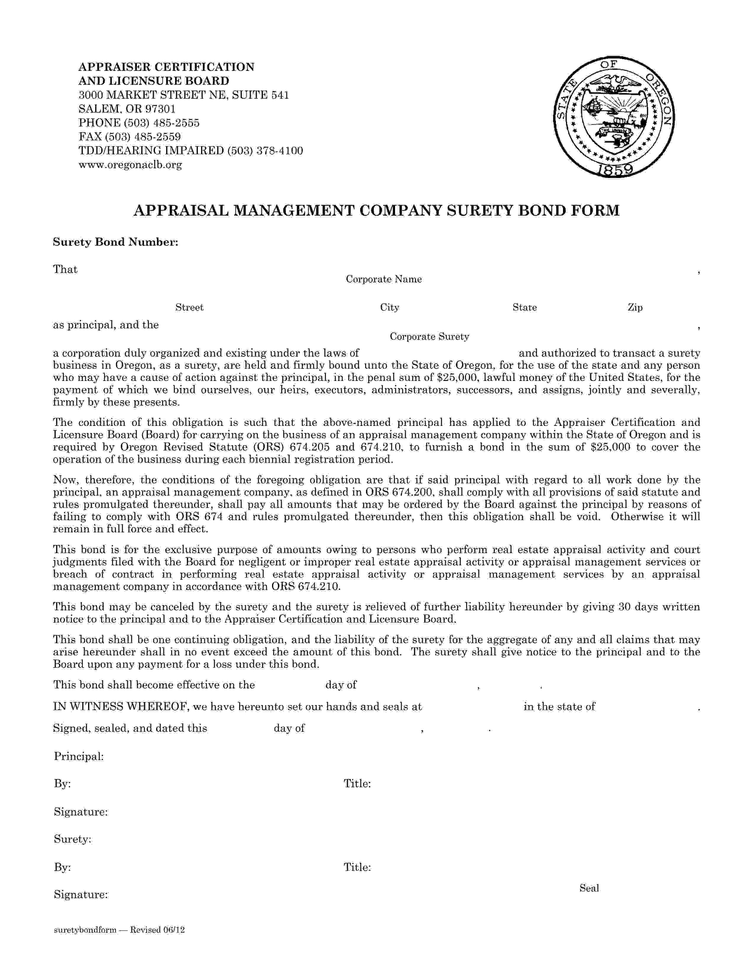 State of Oregon Appraisal Management Company sample image