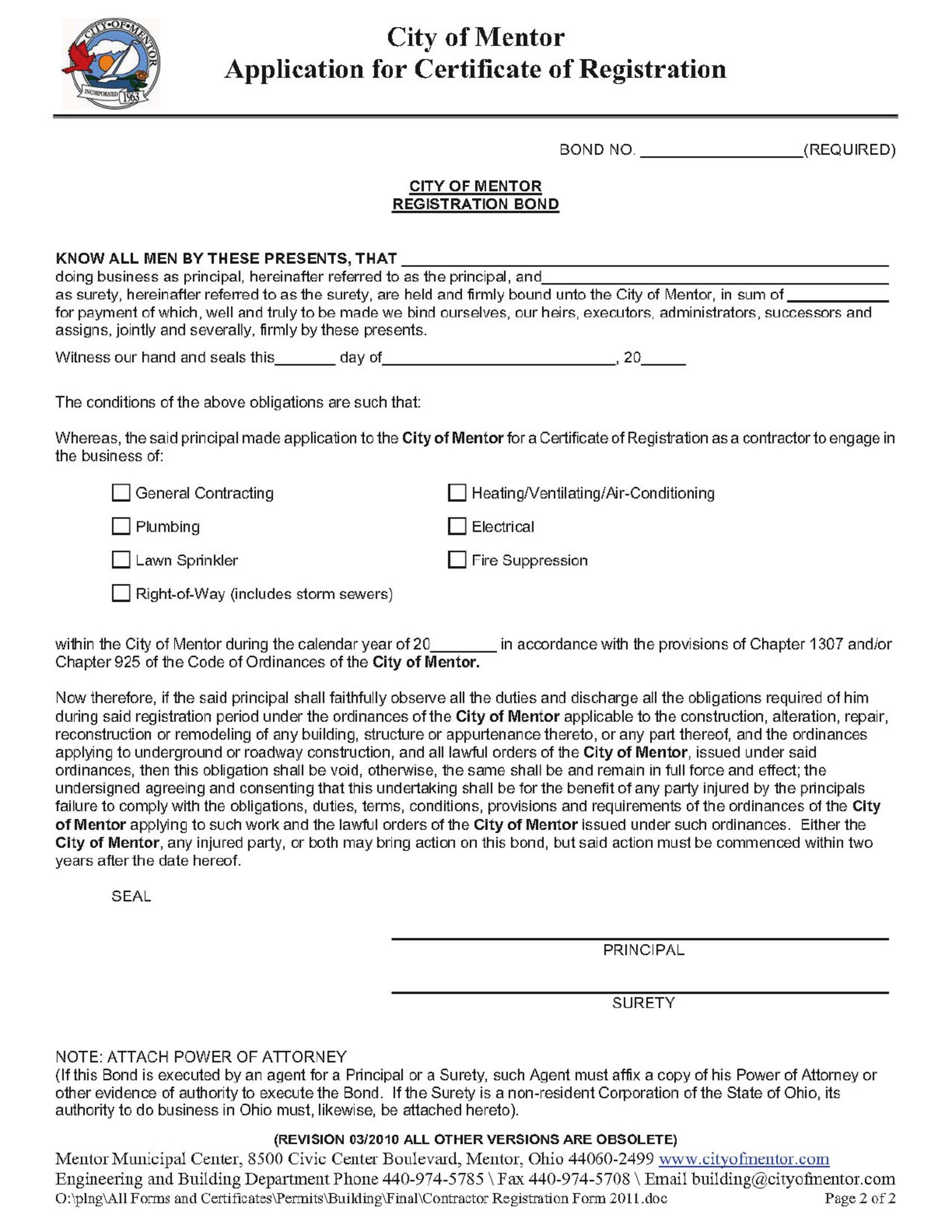 Mentor - City Certificate of Registration - General Contracting sample image